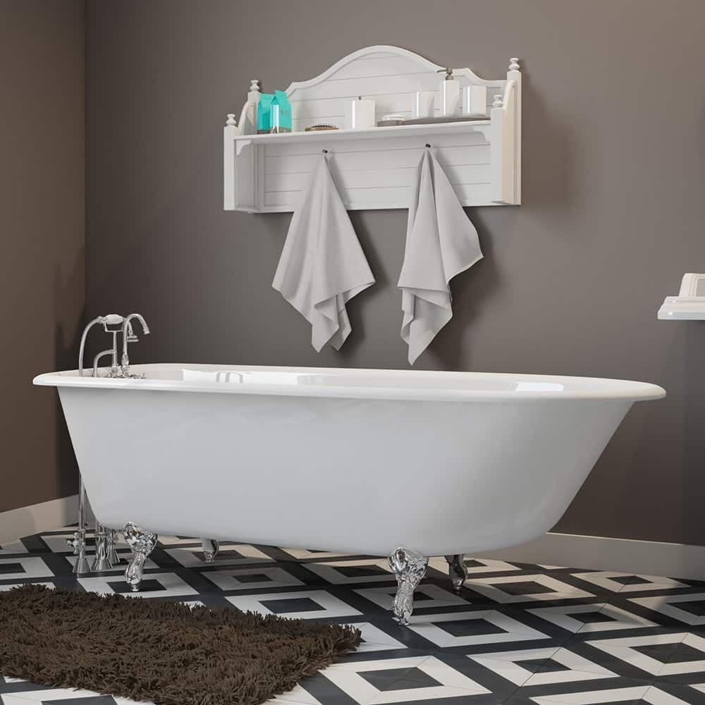 """Cast-Iron Rolled Rim Clawfoot Tub 61"""" X 30"""" with 3 3/8"""" Bathtub Wall Faucet Drillings and English Telephone Style Faucet Complete Polished Chrome Plumbing Package"""