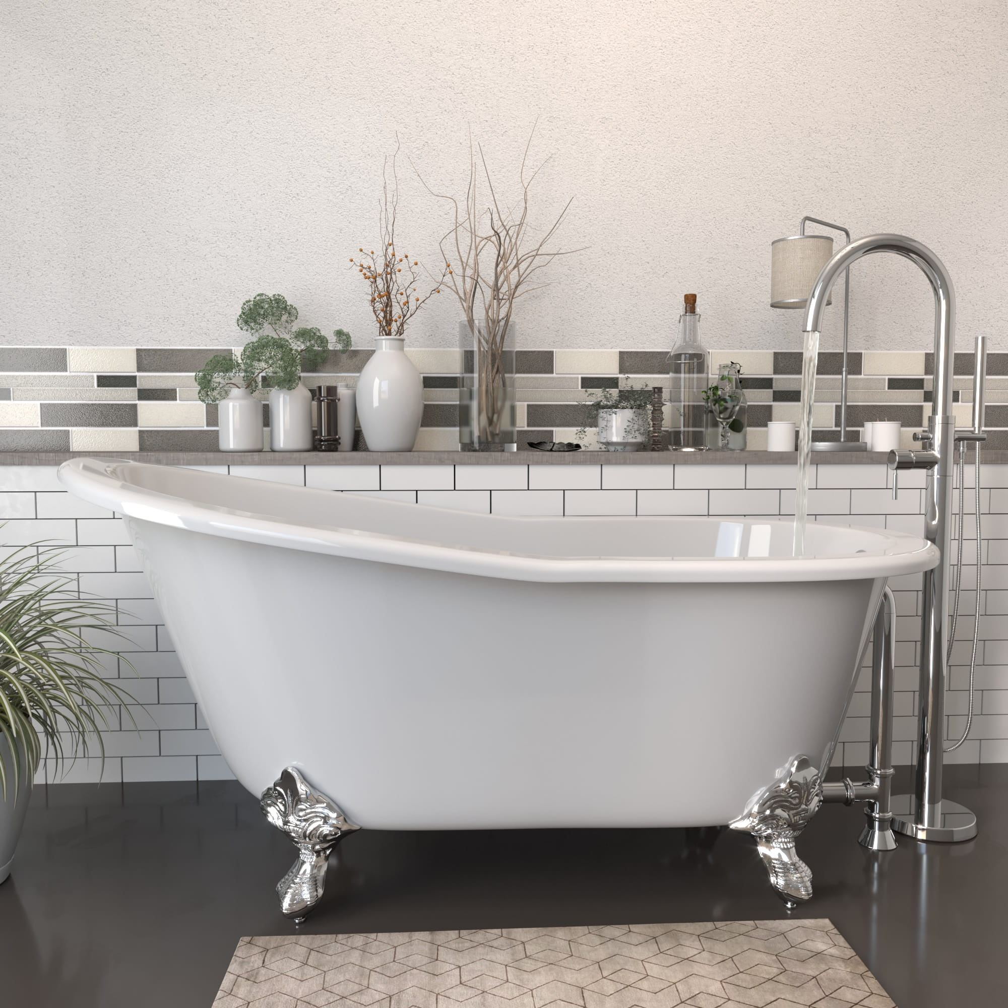 """Cast Iron Slipper Clawfoot Tub 61"""" X 30"""" with no Faucet Drillings and Complete Polished Chrome Modern Freestanding Tub Filler with Hand Held Shower Assembly Plumbing Package"""
