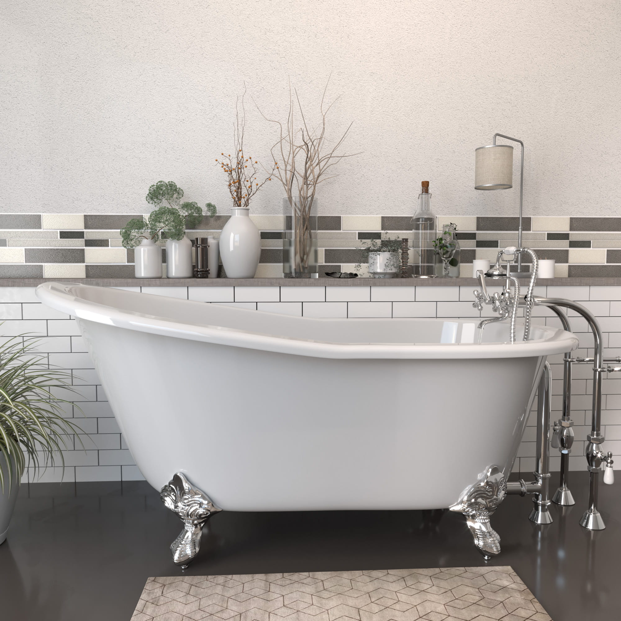 """Cast Iron Slipper Clawfoot Tub 61"""" X 30"""" with No Faucet Drillings and Complete Free Standing British Telephone Faucet and Hand Held Shower  Polished Chrome Package"""