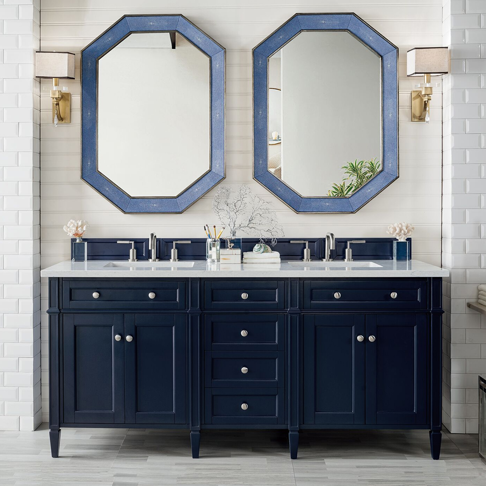 "James Martin Brittany Collection 72"" Double Vanity, Victory Blue"
