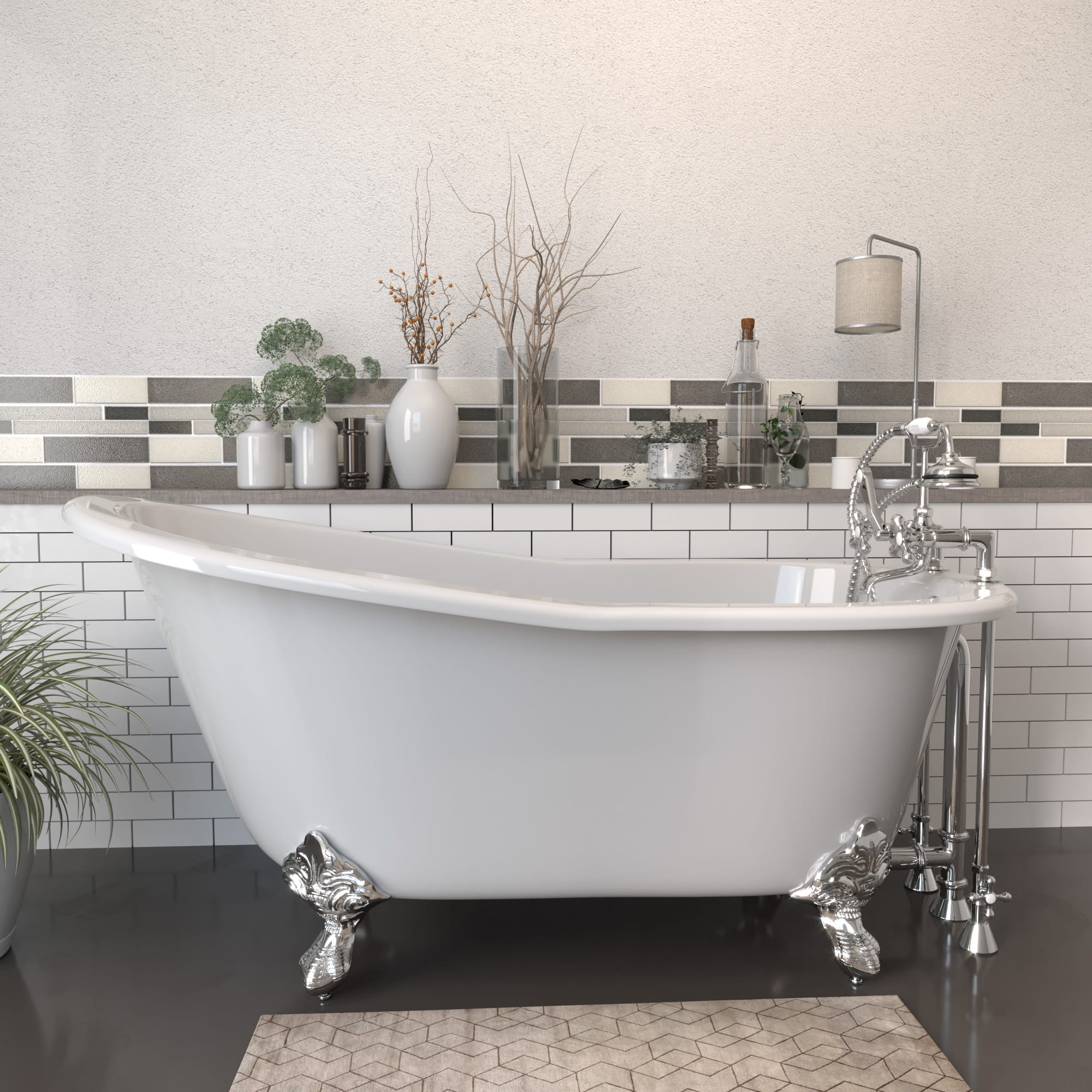 """Cast Iron Slipper Clawfoot Tub 61"""" X 30"""" with 7"""" Deck Mount Faucet Drillings and Complete Polished Chrome Plumbing Package"""