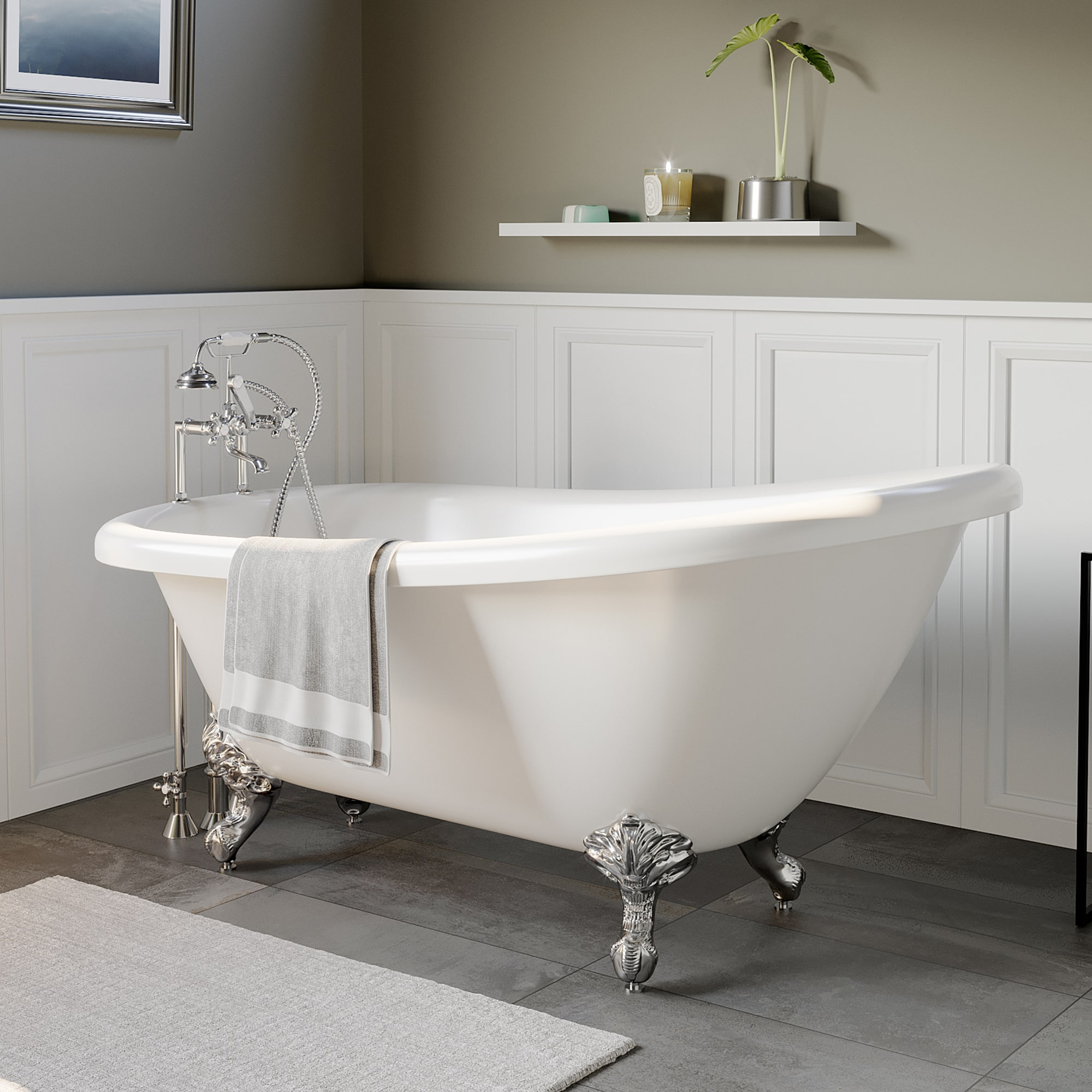 """Cast Iron Slipper Clawfoot Tub 61"""" X 30"""" with  7"""" Deck Mount Faucet Drillings and British Telephone Style Faucet Complete Polished Chrome Plumbing Package With Six Inch Deck Mount Risers"""