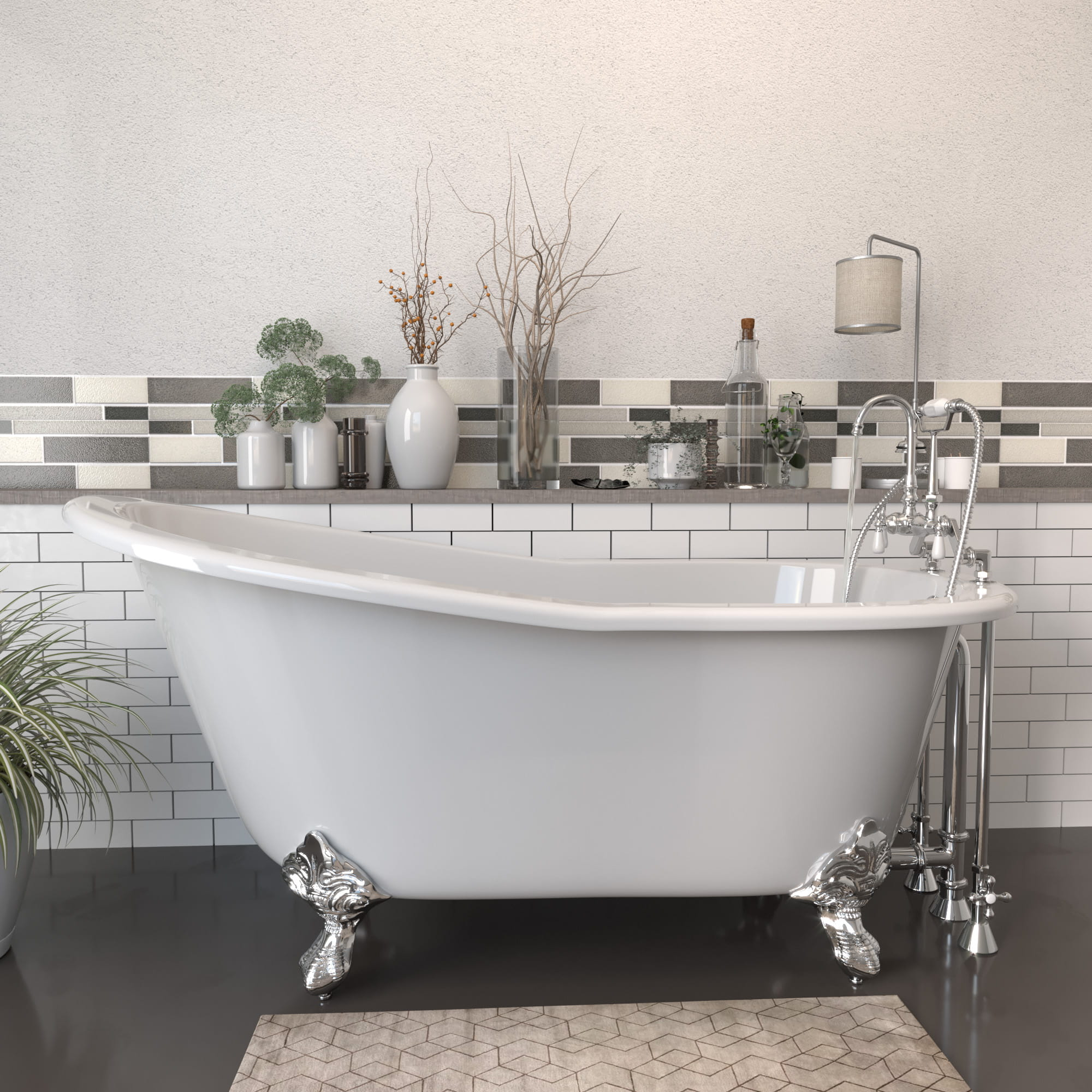 """Cast Iron Slipper Clawfoot Tub 61"""" X 30"""" with 7"""" Deck Mount Faucet Drillings and English Telephone Style Faucet Complete Polished Chrome Plumbing Package"""
