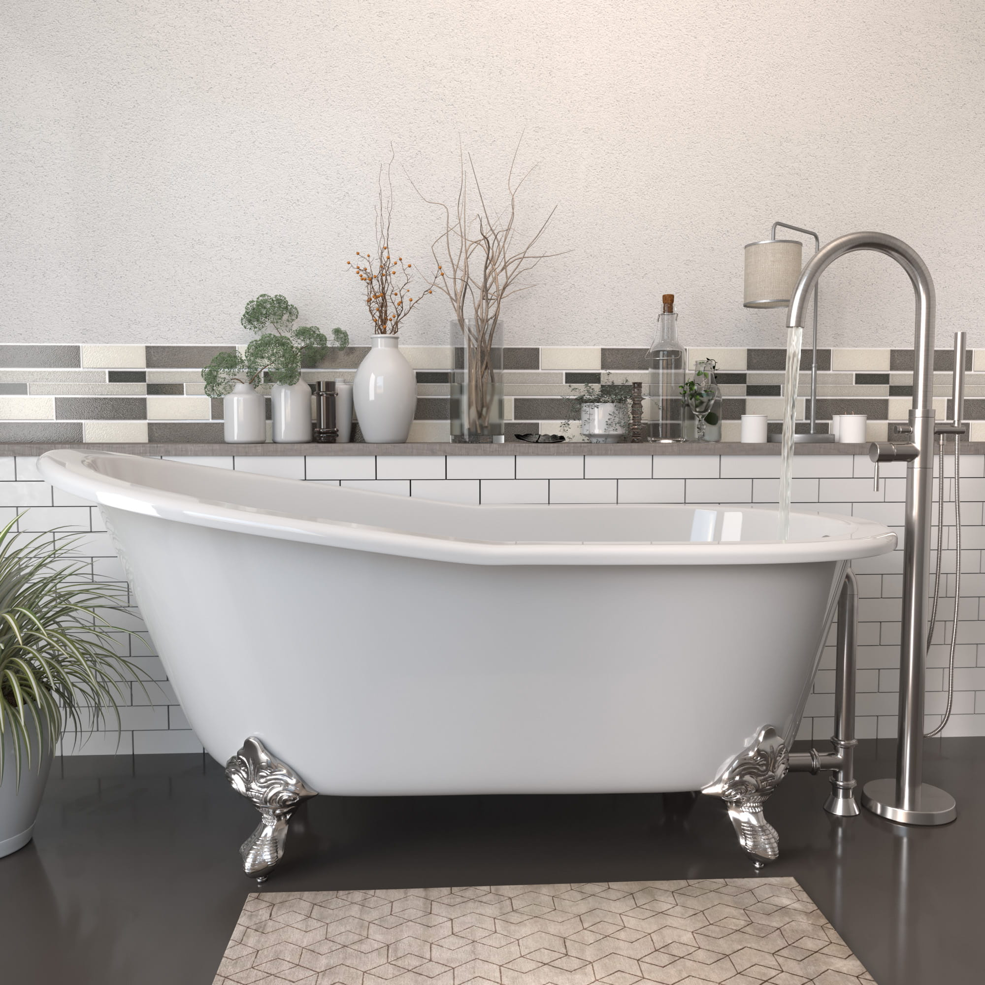 """Cast Iron Slipper Clawfoot Tub 67"""" X 30"""" with no Faucet Drillings and Complete Polished Chrome Modern Freestanding Tub Filler with Hand Held Shower Assembly Plumbing Package"""