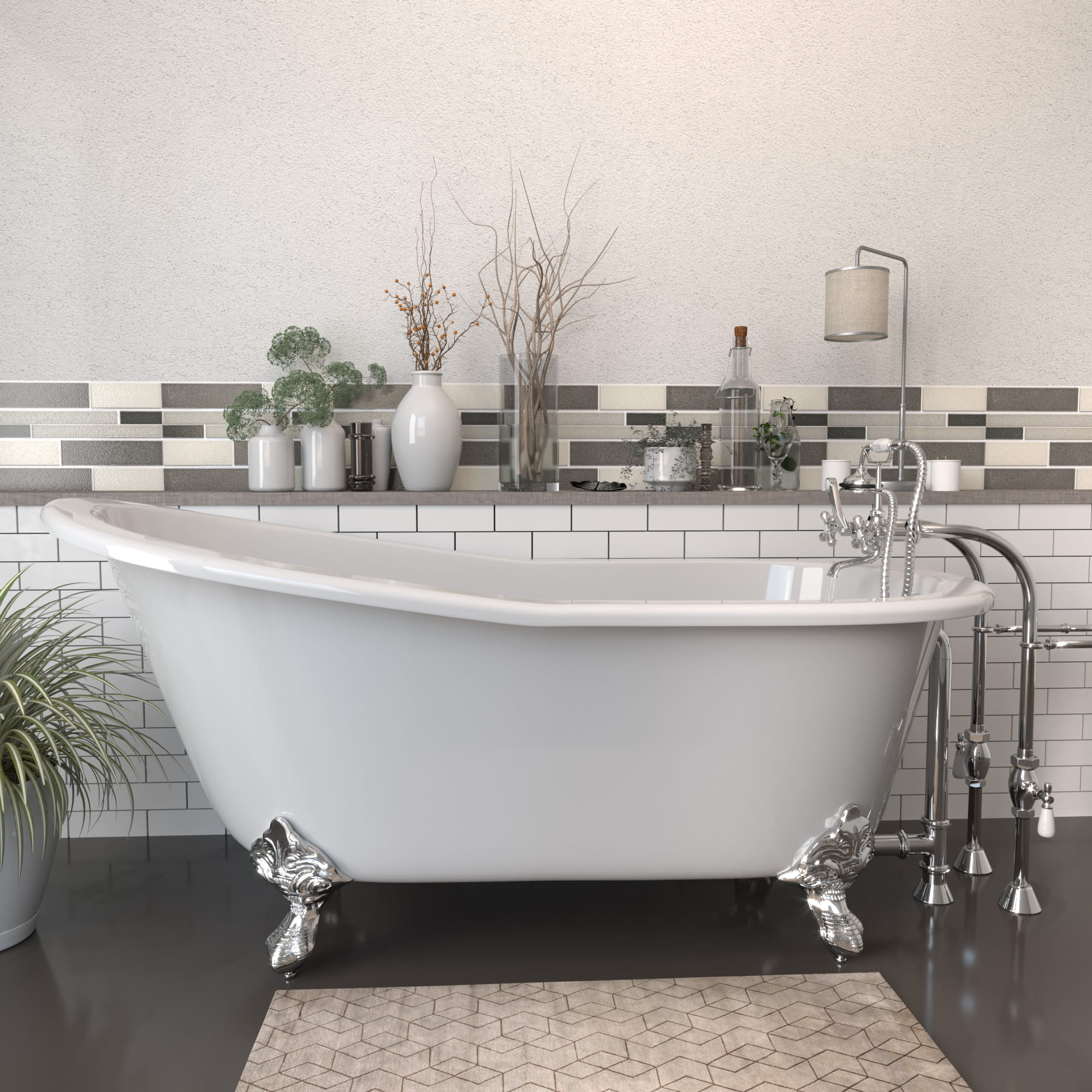 """Cast Iron Slipper Clawfoot Tub 67"""" X 30"""" with No Faucet Drillings and Complete Free Standing British Telephone Faucet and Hand Held Shower  Polished Chrome Package"""