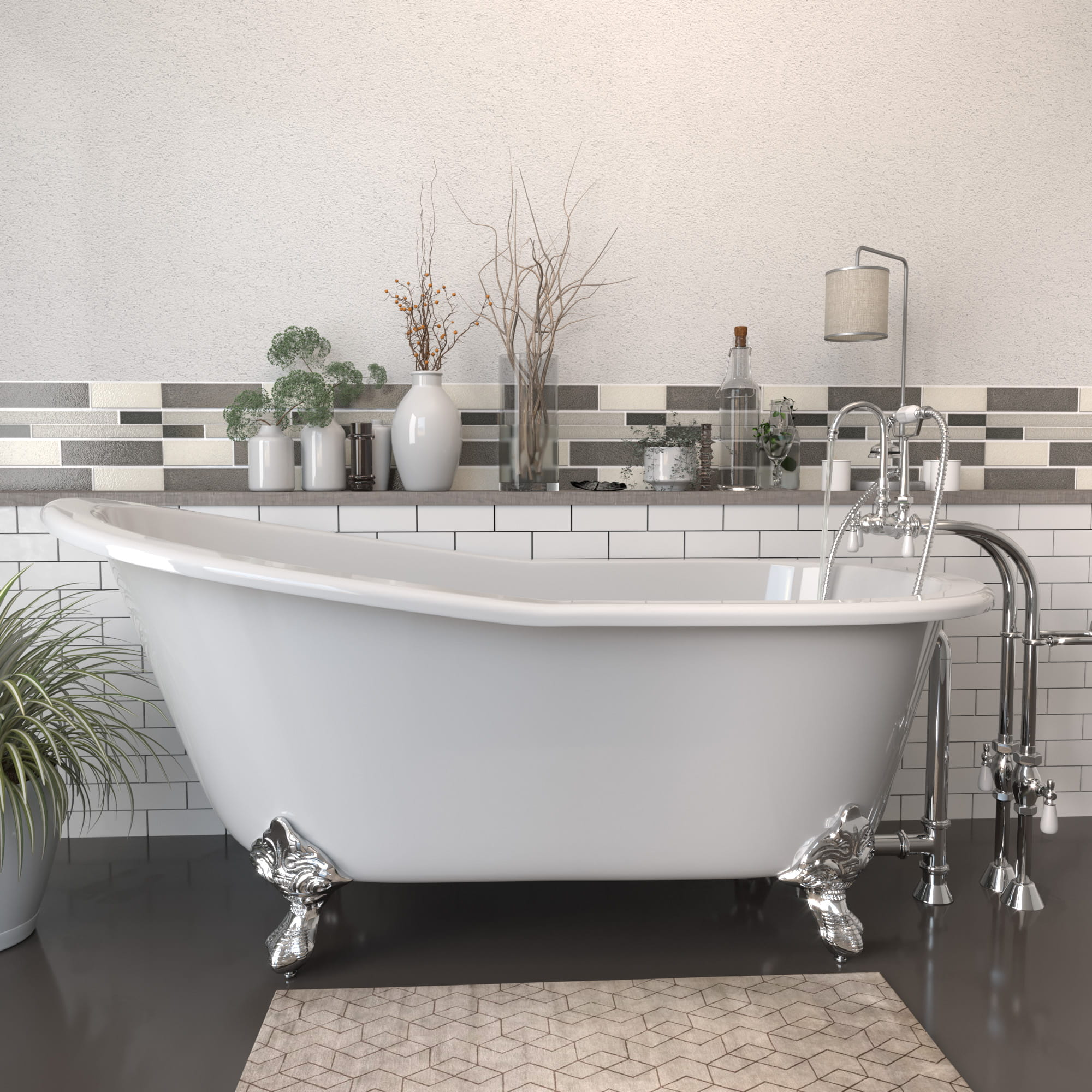 """Cast Iron Slipper Clawfoot Tub 67"""" X 30"""" with no Faucet Drillings and Complete Polished Chrome Free Standing English Telephone Style Faucet with Hand Held Shower Assembly Plumbing Package"""