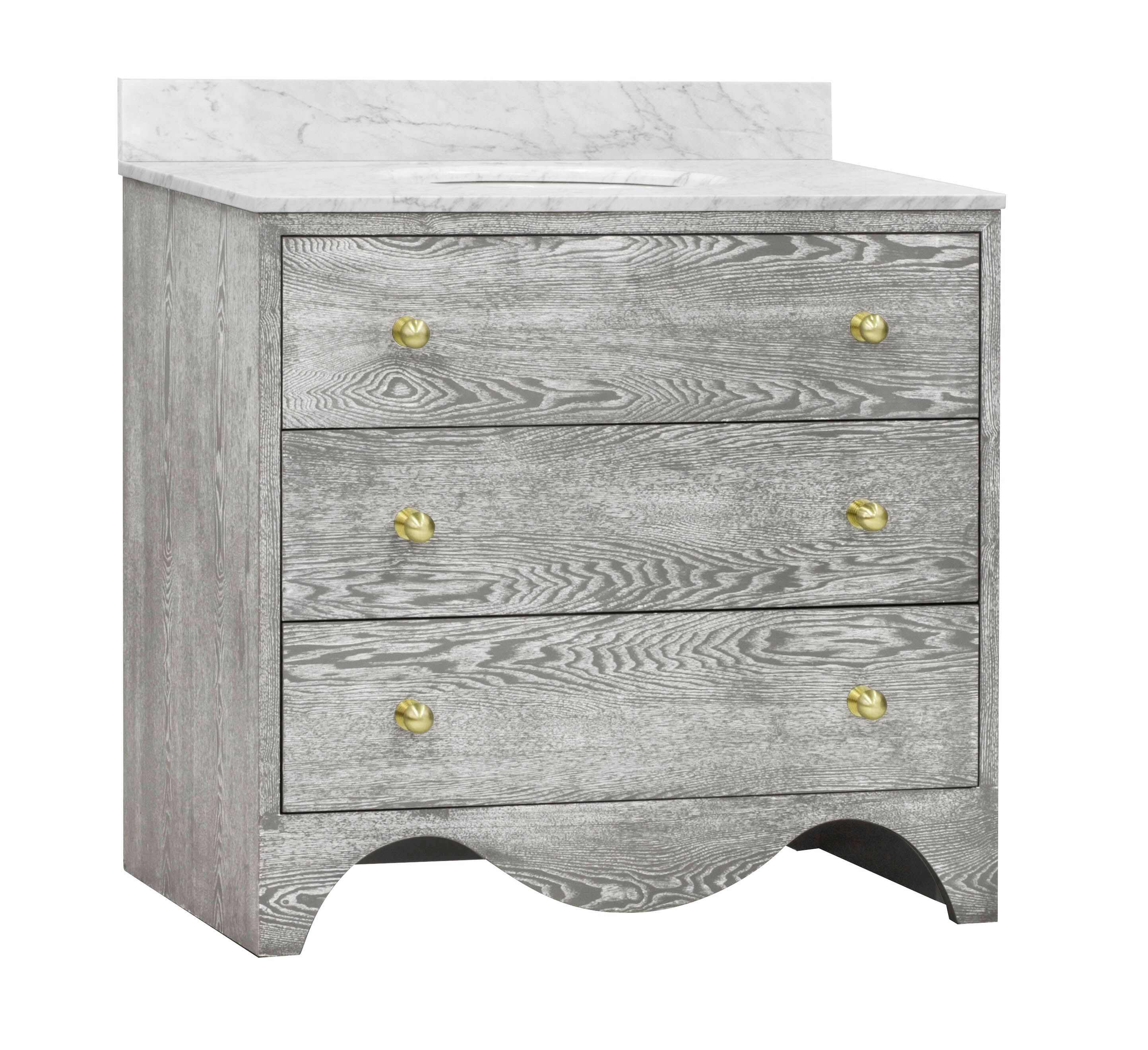 "36"" Isaac Edwards Collection Grey Cerused Oak Bath Vanity with White Marble Top, Hardware and Backsplash Option"