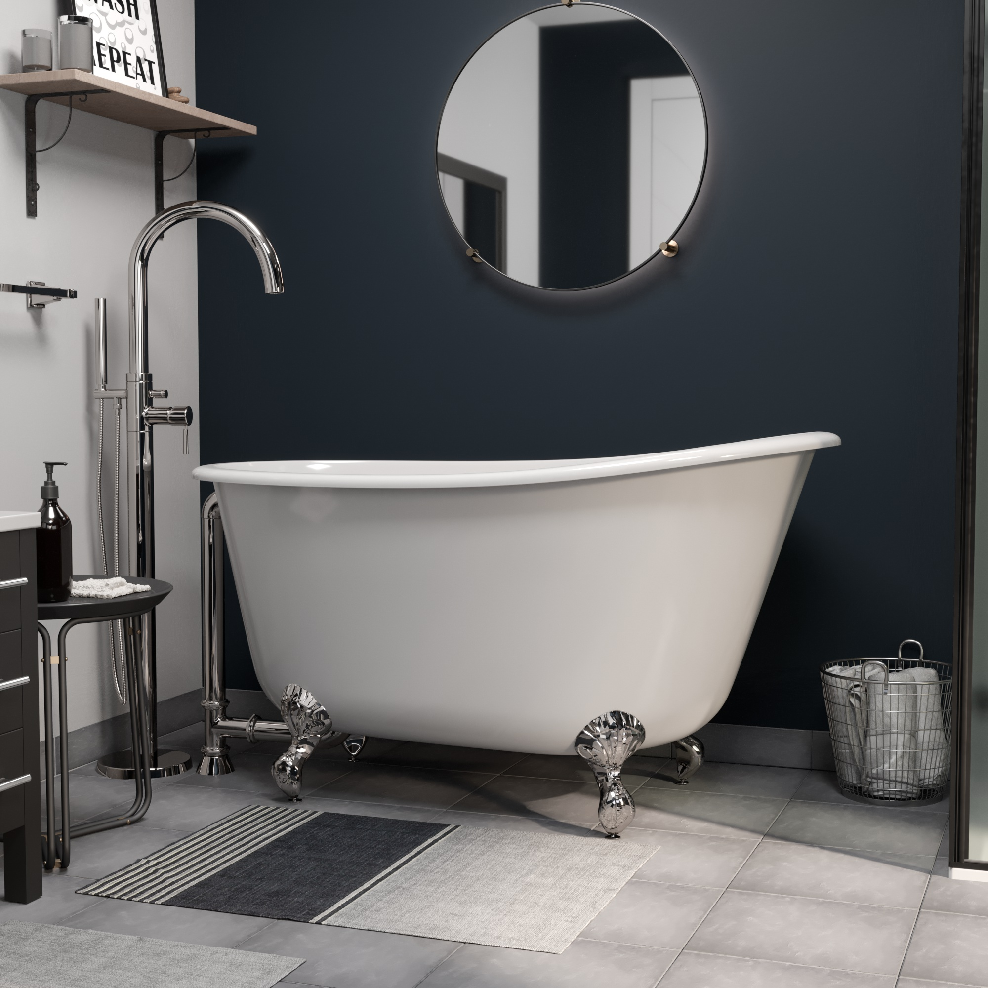 """Cast Iron Swedish Slipper Tub 54"""" X 30"""" with no Faucet Drillings and Complete Polished Chrome Modern Freestanding Tub Filler with Hand Held Shower Assembly Plumbing Package"""