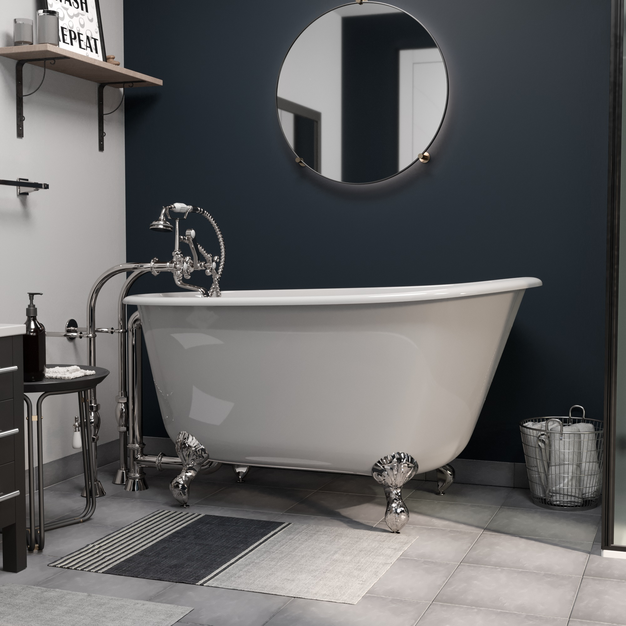 """Cast Iron Swedish Slipper Tub 54"""" X 30"""" with No Faucet Drillings and Complete Free Standing British Telephone Faucet and Hand Held Shower  Polished Chrome Plumbing Package"""