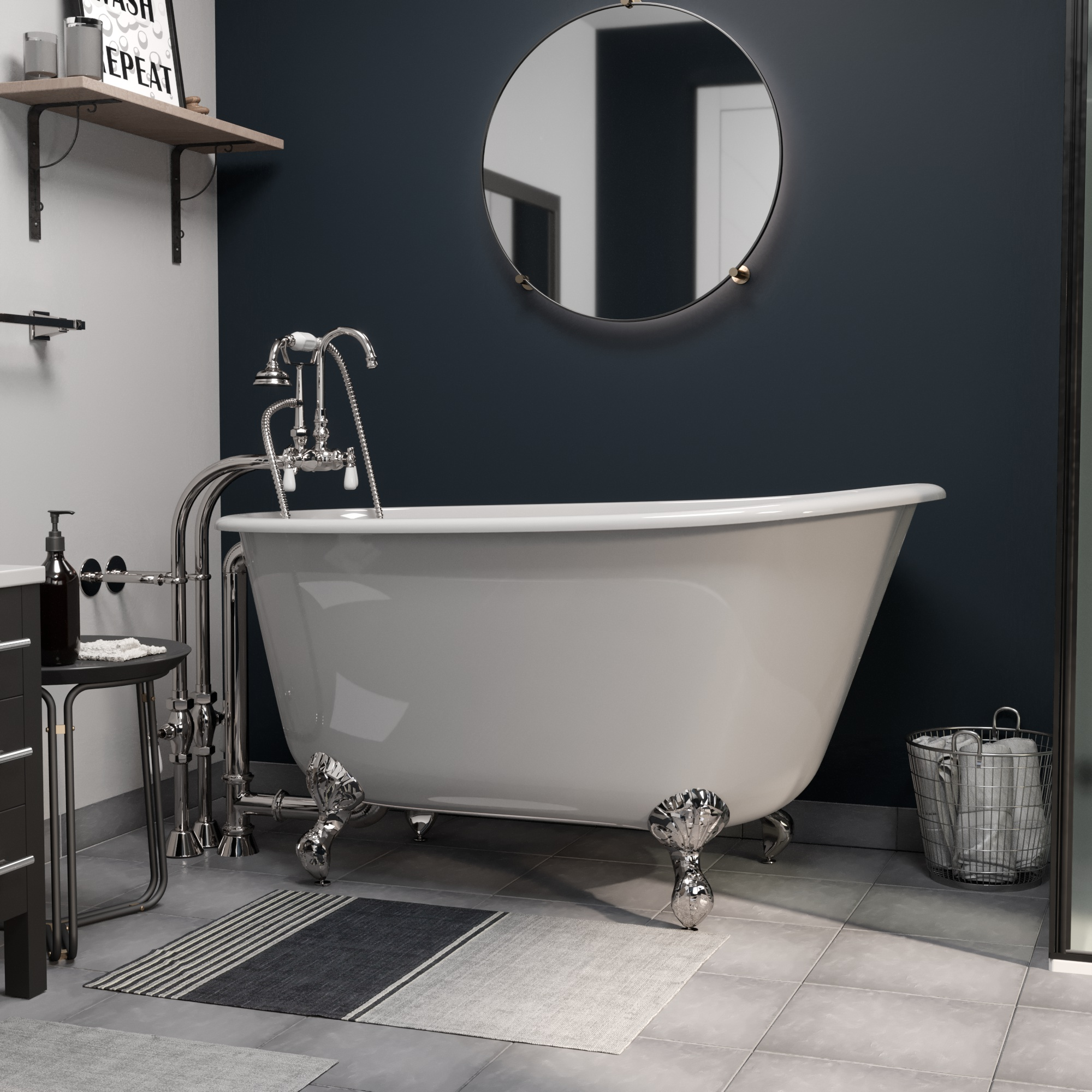 """Cast Iron Swedish Slipper Tub 54"""" X 30"""" with no Faucet Drillings and Complete Polished Chrome Free Standing English Telephone Style Faucet with Hand Held Shower Assembly Plumbing Package"""