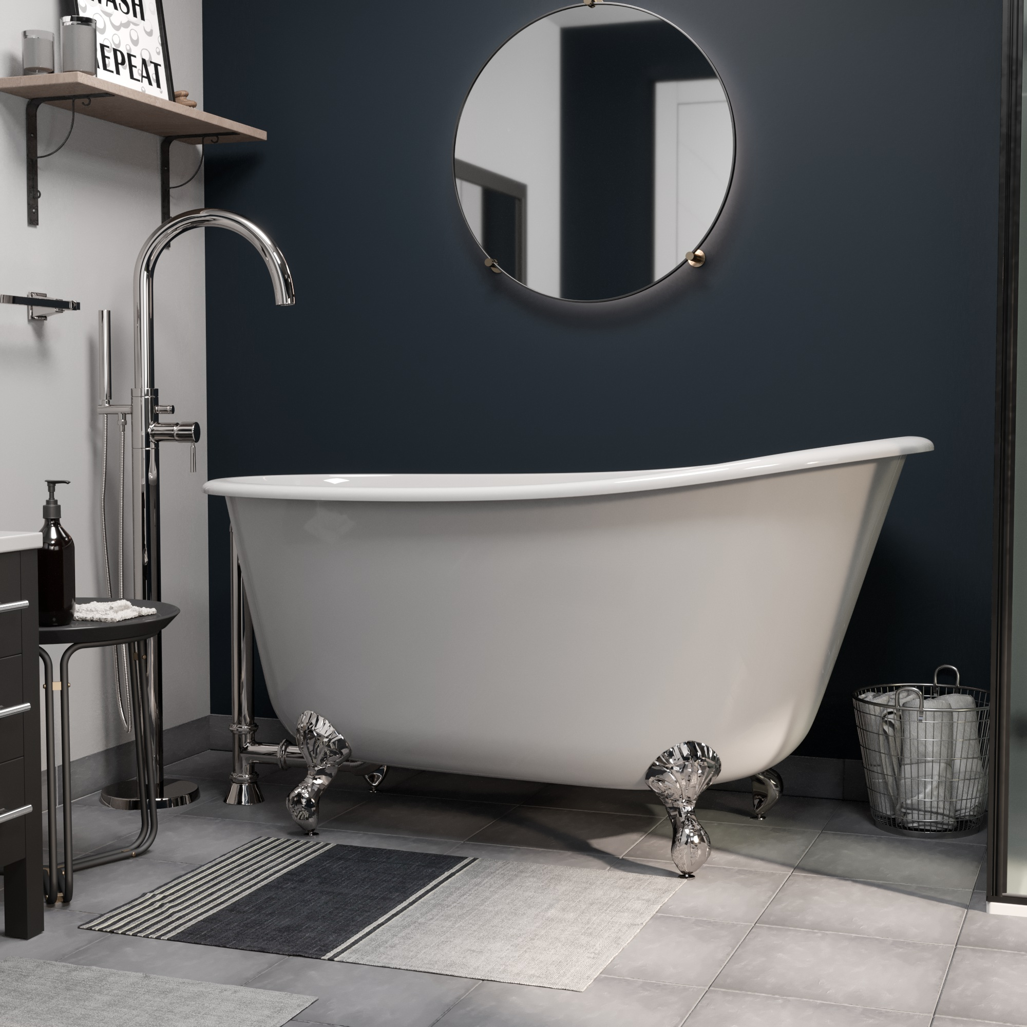 """Cast Iron Swedish Slipper Tub 58"""" X 30"""" with no Faucet Drillings and Complete Polished Chrome Modern Freestanding Tub Filler with Hand Held Shower Assembly Plumbing Package"""
