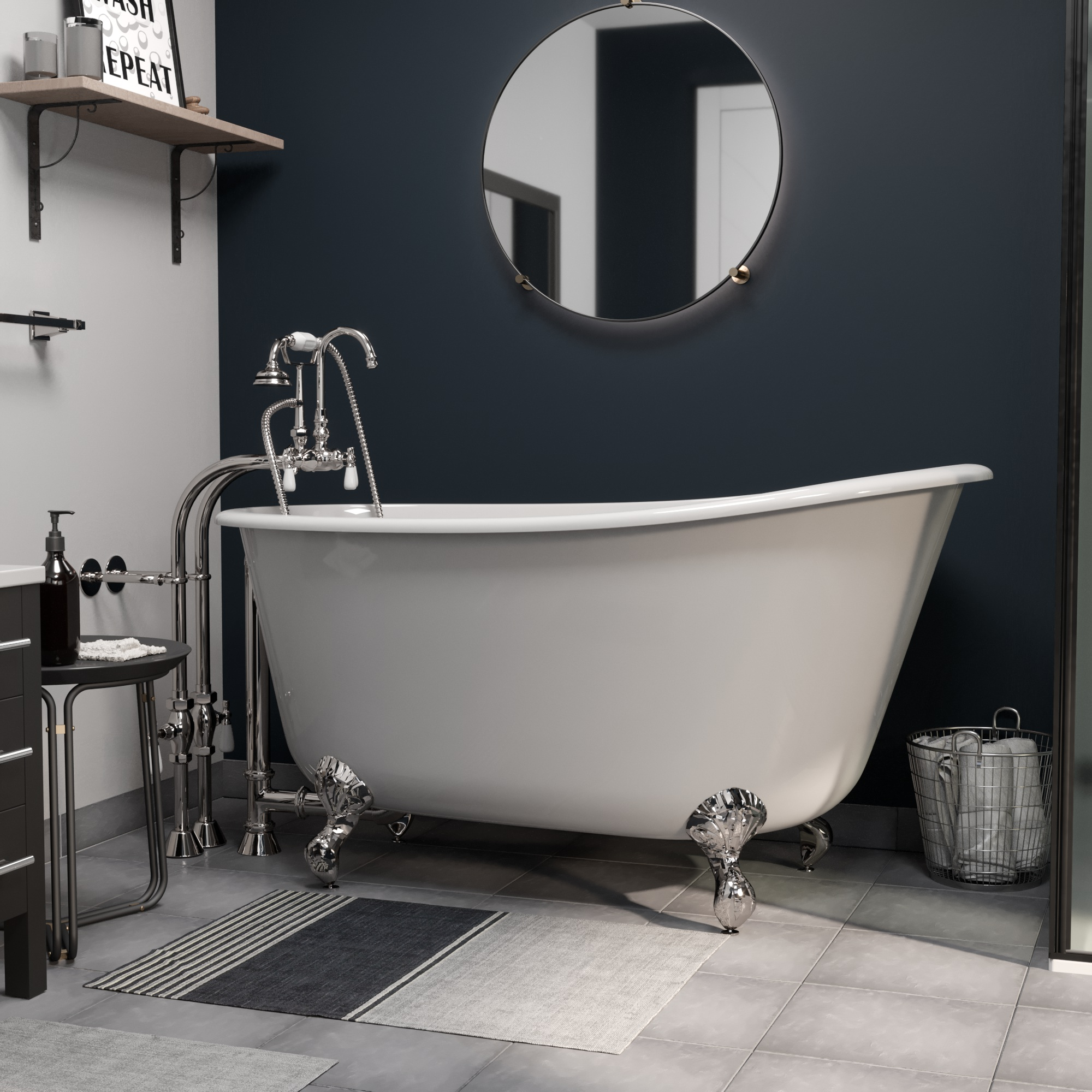 """Cast Iron Swedish Slipper Tub 58"""" X 30"""" with no Faucet Drillings and Complete Polished Chrome Free Standing English Telephone Style Faucet with Hand Held Shower Assembly Plumbing Package"""