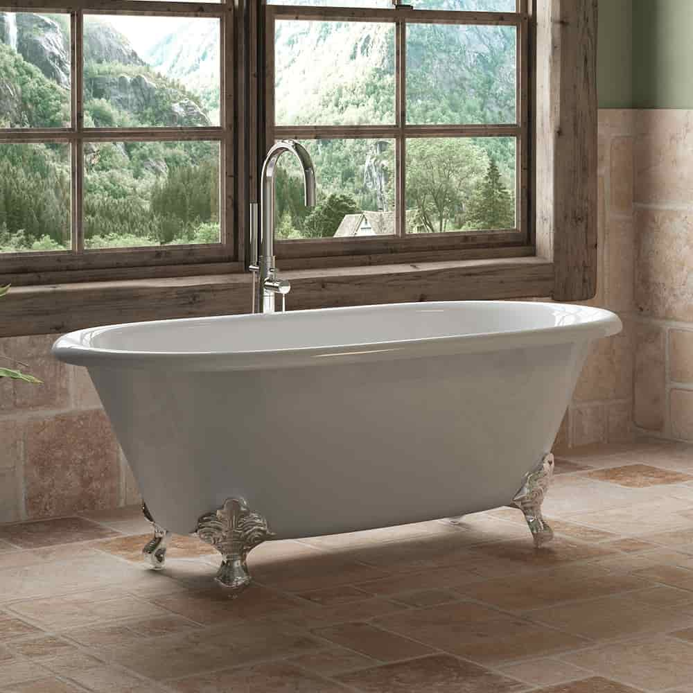 """Cast Iron Double Ended Clawfoot Tub 60"""" X 30"""" with no Faucet Drillings and Complete Polished Chrome Modern Freestanding Tub Filler with Hand Held Shower Assembly Plumbing Package"""