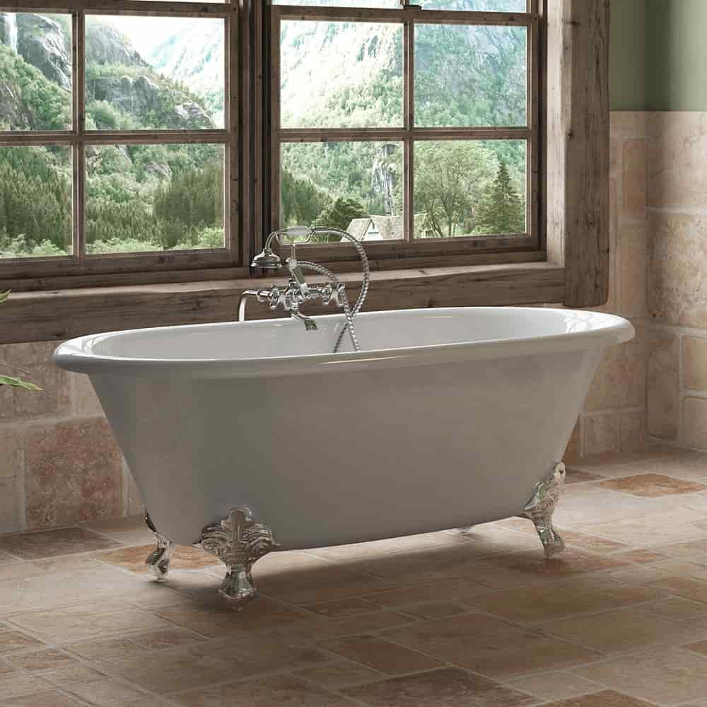 """Cast Iron Double Ended Clawfoot Tub 60"""" X 30"""" with No Faucet Drillings and Complete Free Standing British Telephone Faucet and Hand Held Shower  Polished Chrome Plumbing Package"""