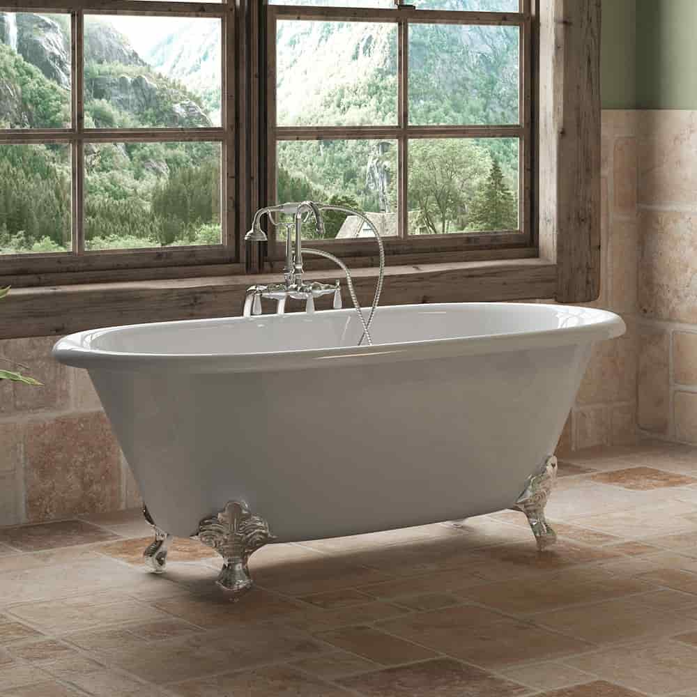 """Cast Iron Double Ended Clawfoot Tub 60"""" X 30"""" with no Faucet Drillings and Complete Polished Chrome Free Standing English Telephone Style Faucet with Hand Held Shower Assembly Plumbing Package"""