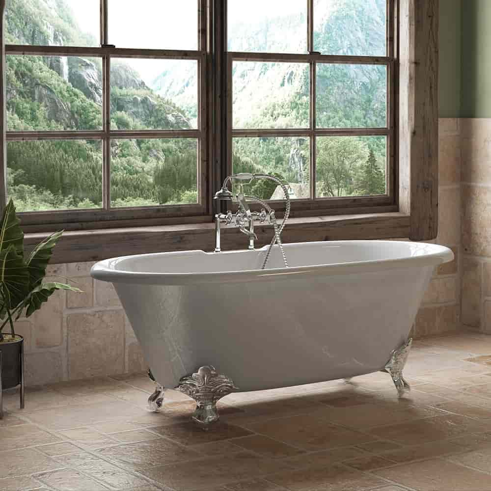 """Cast Iron Double Ended Clawfoot Tub 60"""" X 30"""" with 7"""" Deck Mount Faucet Drillings and British Telephone Style Faucet Complete Polished Chrome Plumbing Package With Six Inch Deck Mount Risers"""