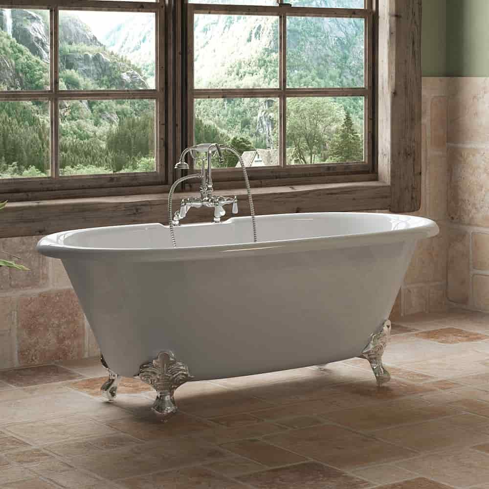 """Cast Iron Double Ended Clawfoot Tub 60"""" X 30"""" with 7"""" Deck Mount Faucet Drillings and English Telephone Style Faucet Complete Polished Chrome Plumbing Package"""