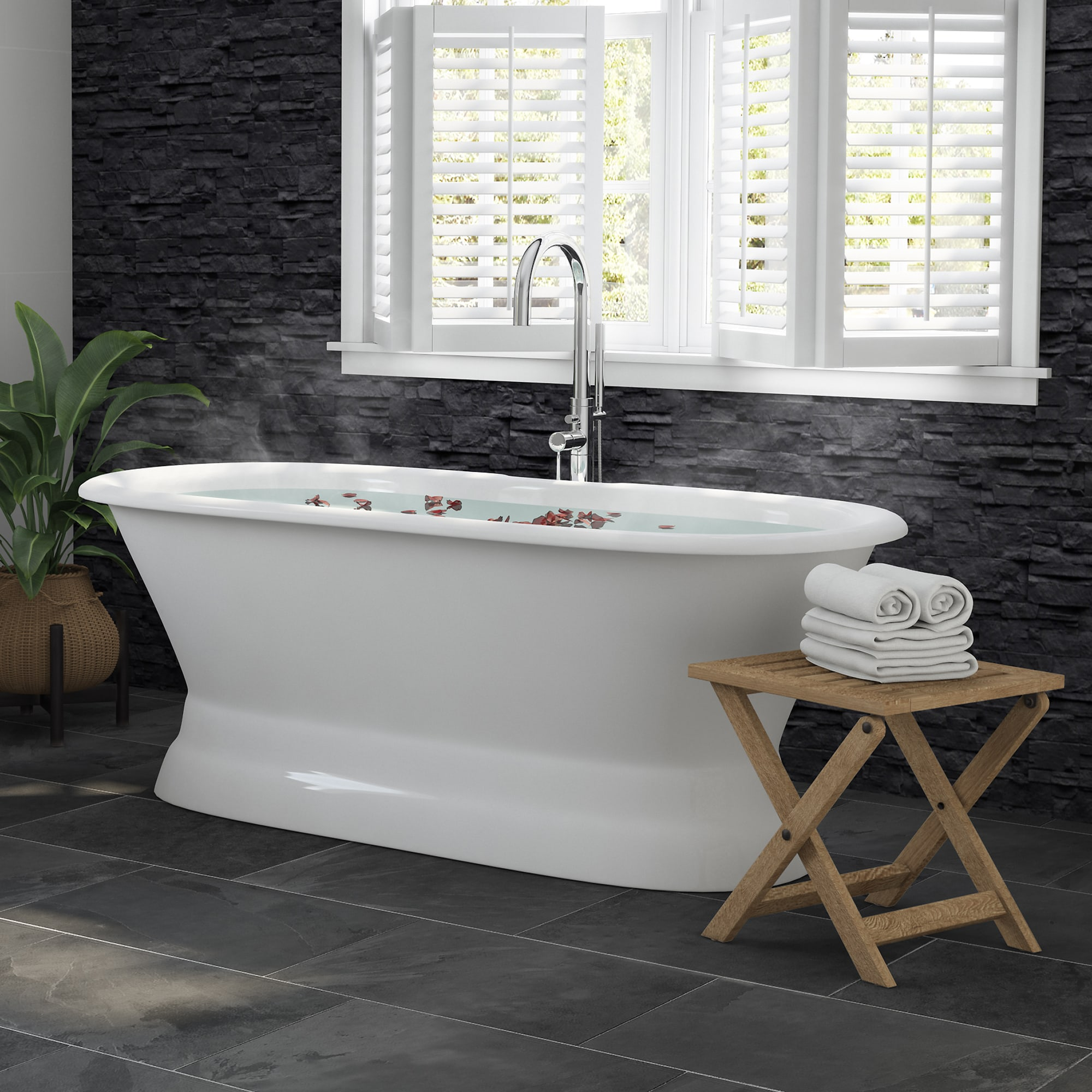 """66"""" Cast Iron Dual Ended Pedestal Bathtub with no Faucet drillings & Complete plumbing package in Chrome"""