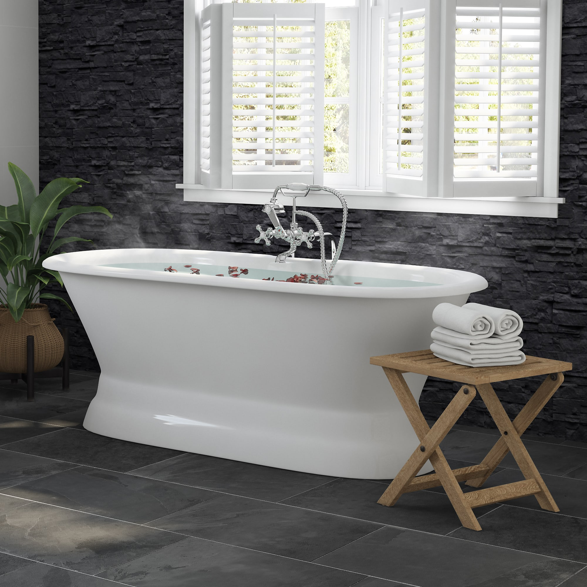 """66"""" Cast Iron Dual Ended Pedestal Bathtub with No Faucet drillings and Complete plumbing packge in Chrome"""