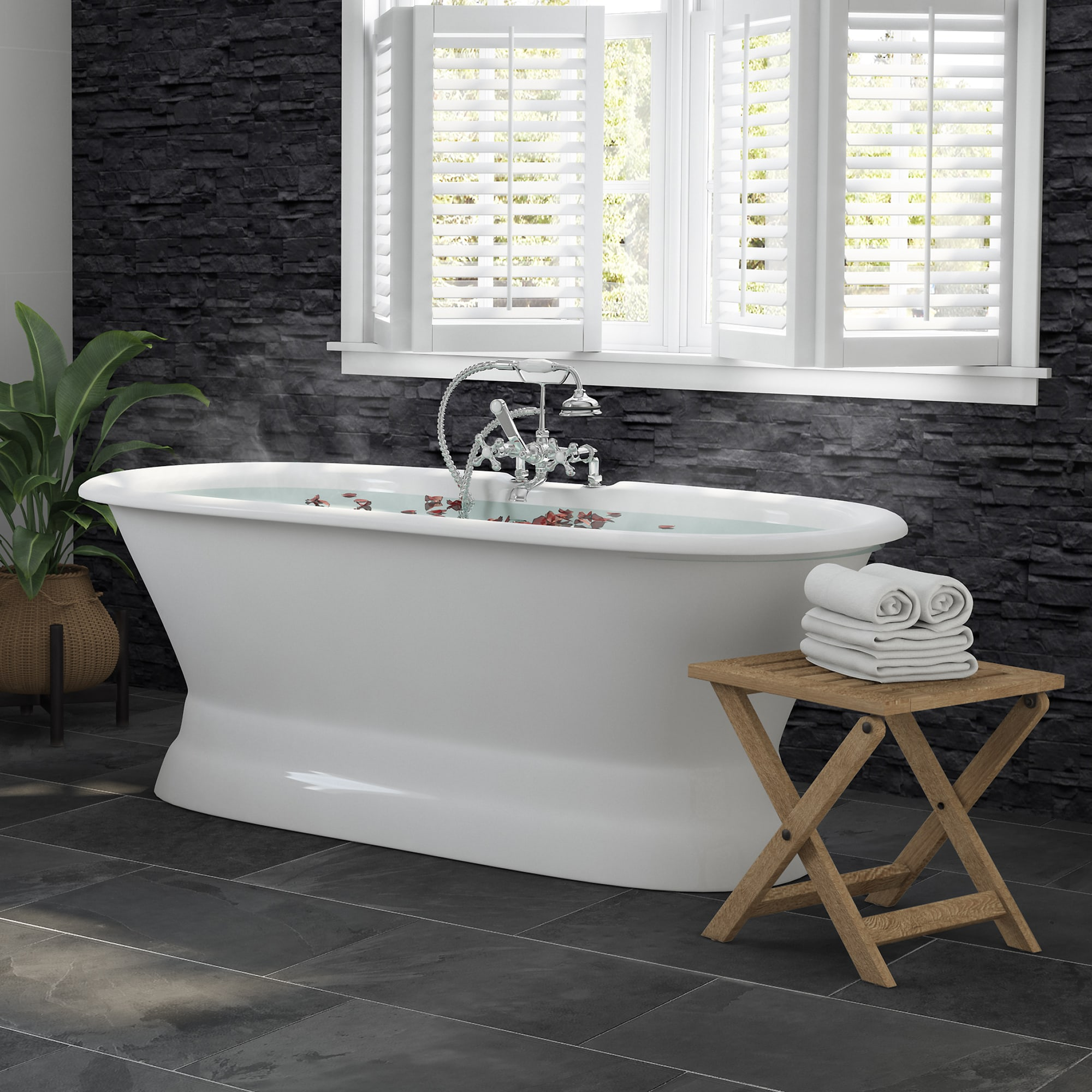 """66"""" Cast Iron Dual Ended Pedestal Bathtub with Deckmount faucet drillings Complete plumbing package in Polished Chrome"""