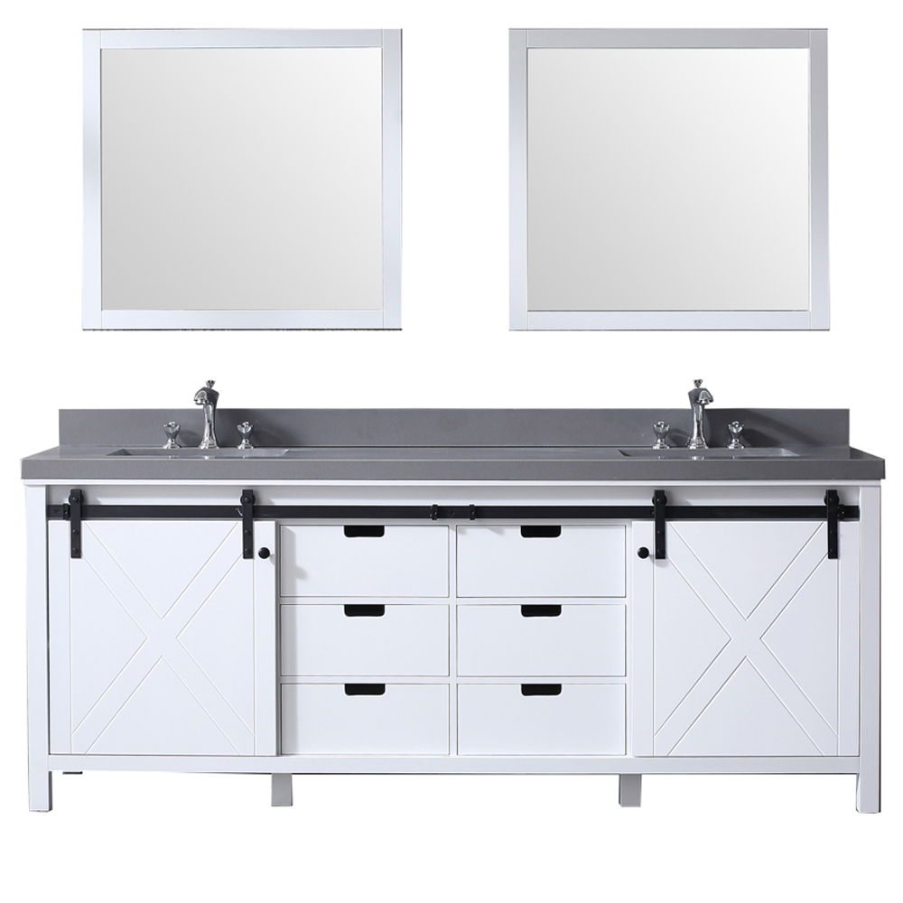 "84"" White Vanity Cabinet Only with Mirror and Top Options"