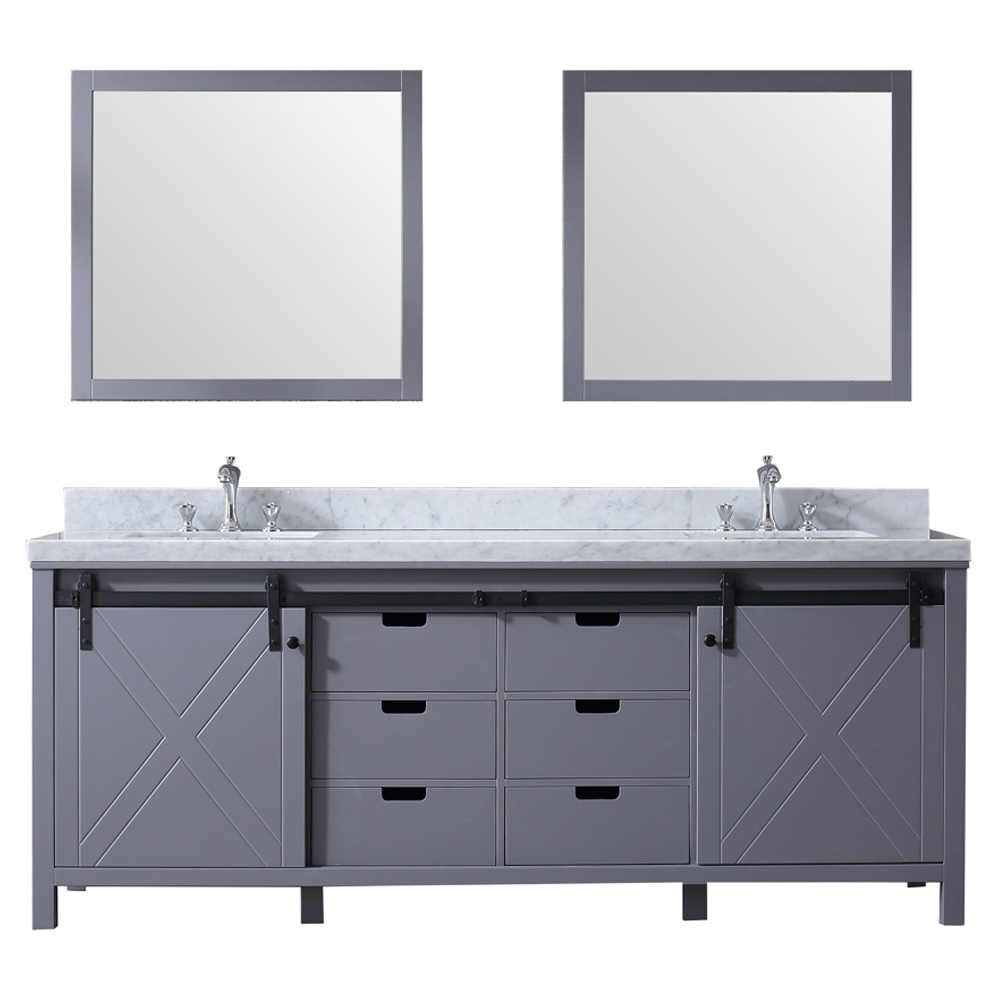 "84"" Dark Grey Vanity Cabinet Only with Mirror and Top Options"