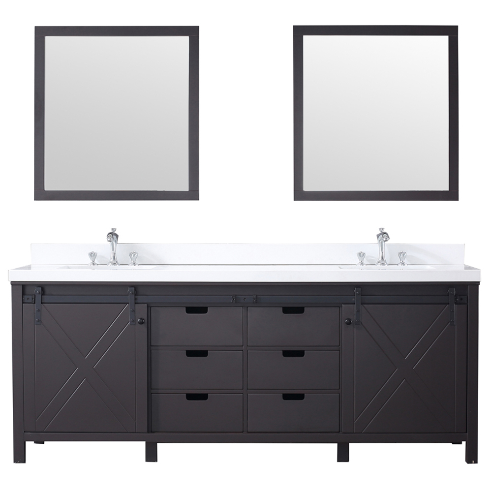 "84"" Brown Vanity Cabinet Only with Mirror and Top Options"
