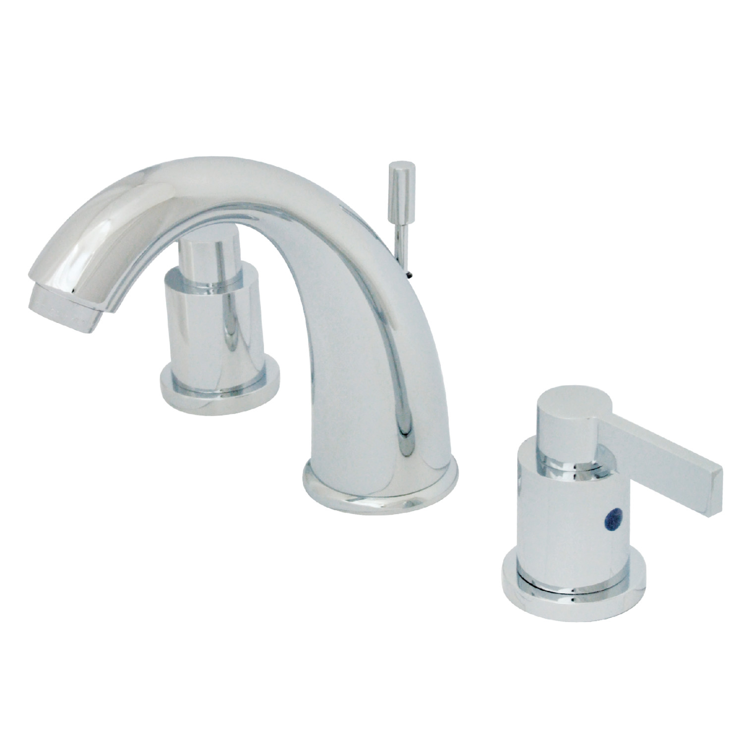 Modern 2 Handle 3-Hole Deck Mounted Widespread Bathroom Faucet with Plastic Pop-Up in Polished Chrome
