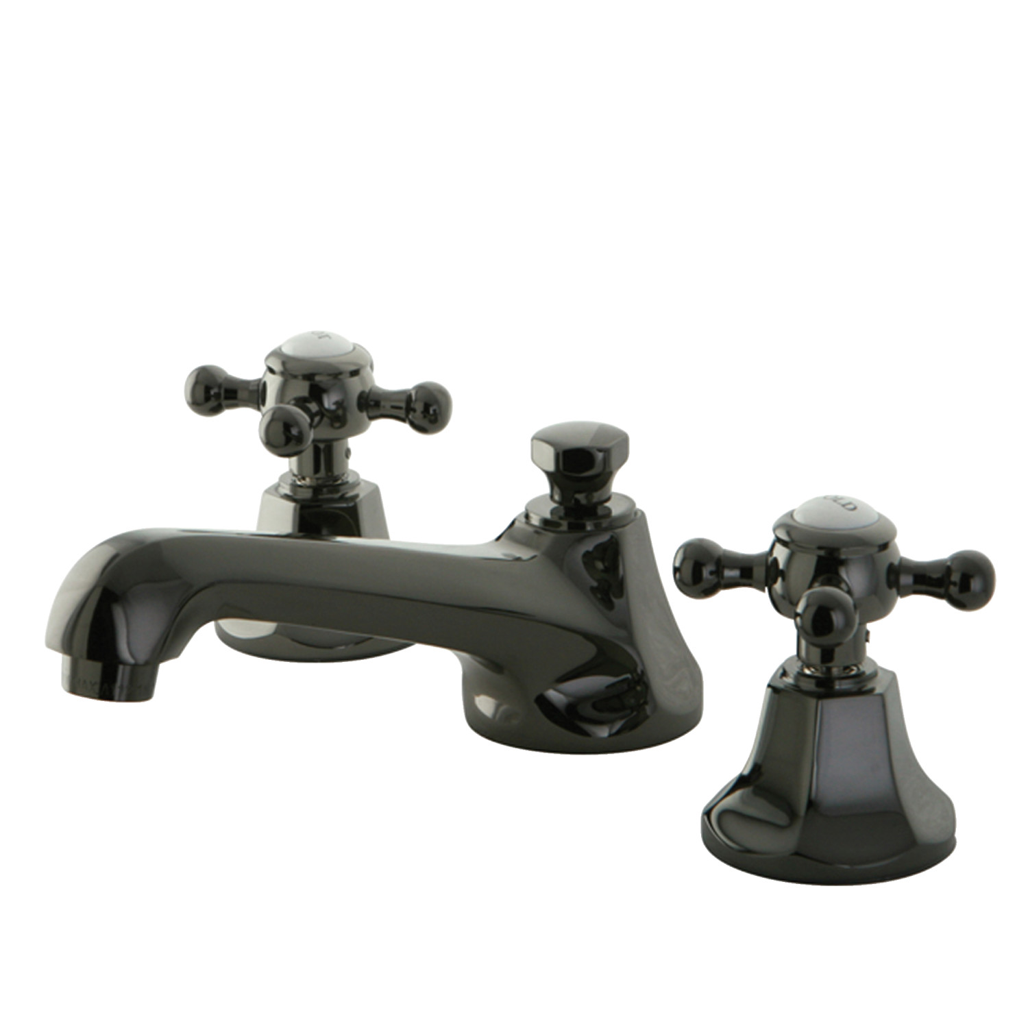 Traditional Two-Handle 3-Hole Deck Mounted Widespread Bathroom Faucet with Brass Pop-Up in Black Stainless Steel