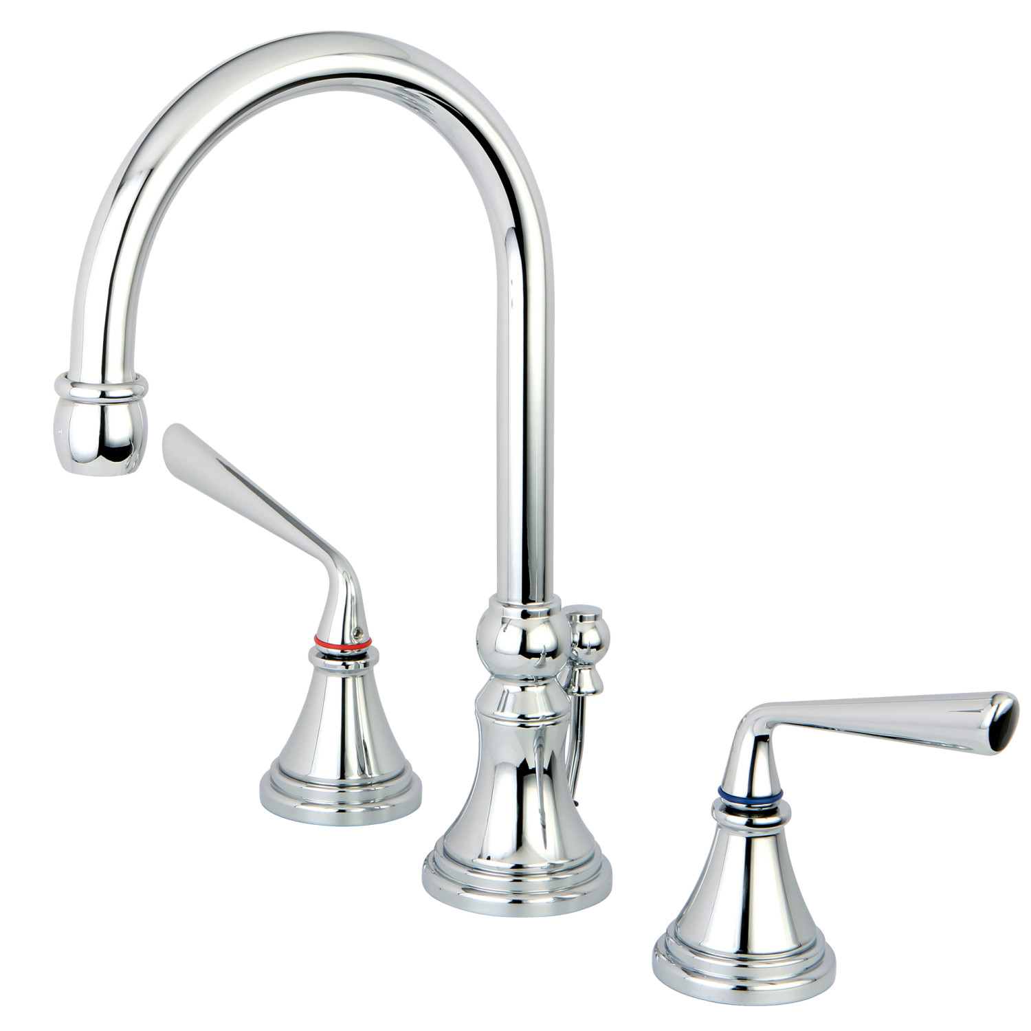 Modern Two-Handle 3-Hole Deck Mounted Widespread Bathroom Faucet with Brass Pop-Up Polished Chrome Finish