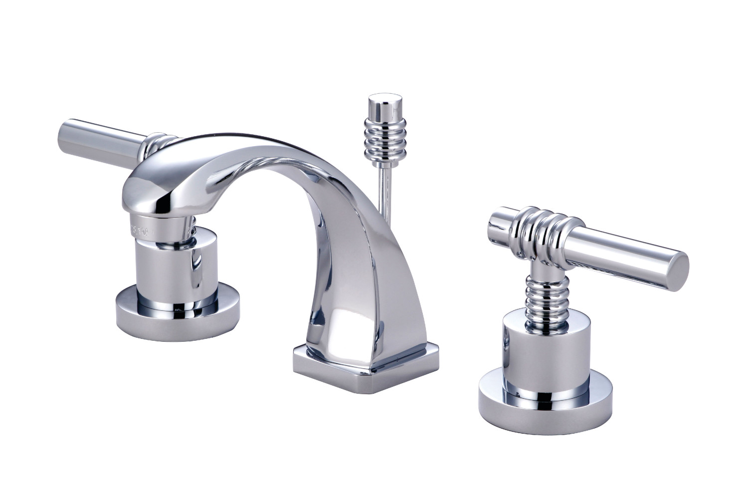 Modern Two-Handle 3-Hole Deck Mounted Widespread Bathroom Faucet in Polished Chrome Finish