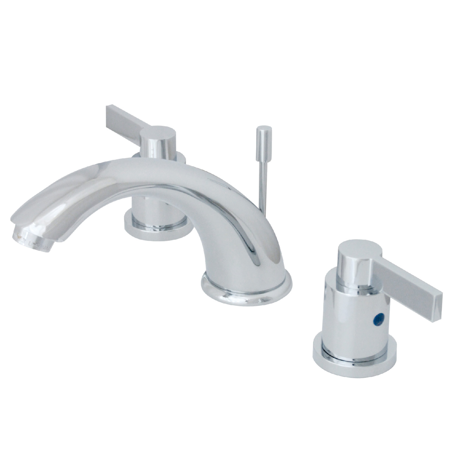 Modern 2-Handle Three-Hole Deck Mounted Widespread Bathroom Faucet with Plastic Pop-Up in Polished Chrome