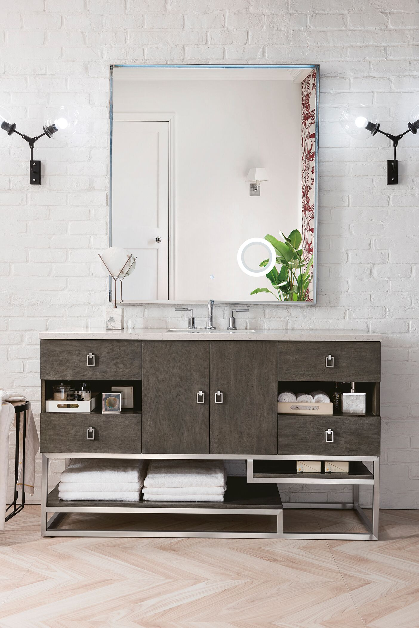 "James Martin Sonoran Collection 72"" Double Vanity, Silver Oak with Top Options"