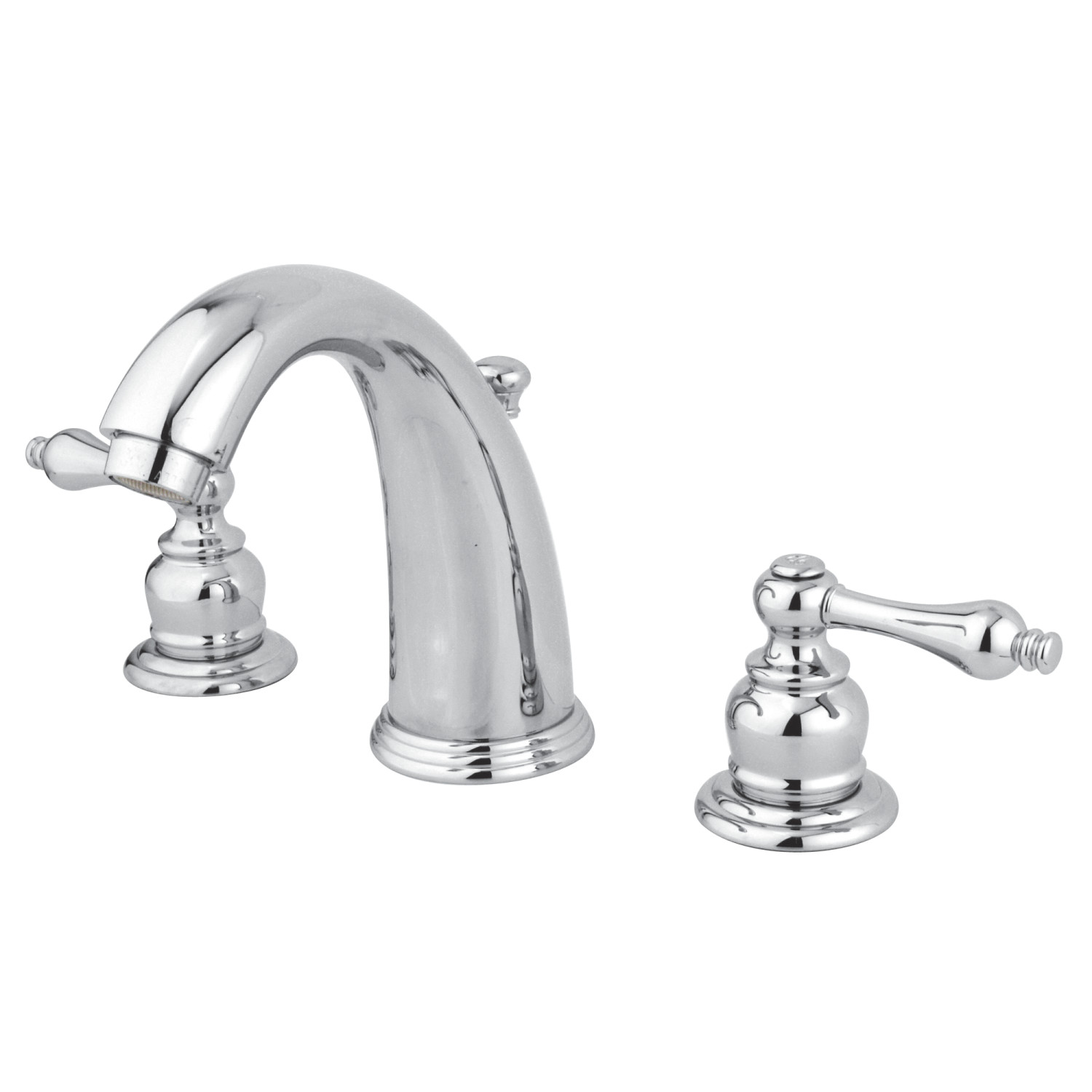 Traditional Two-Handle Three-Hole Deck Mounted Widespread Bathroom Faucet with Plastic Pop-Up in Polished Chrome Finish with 4 Color Options