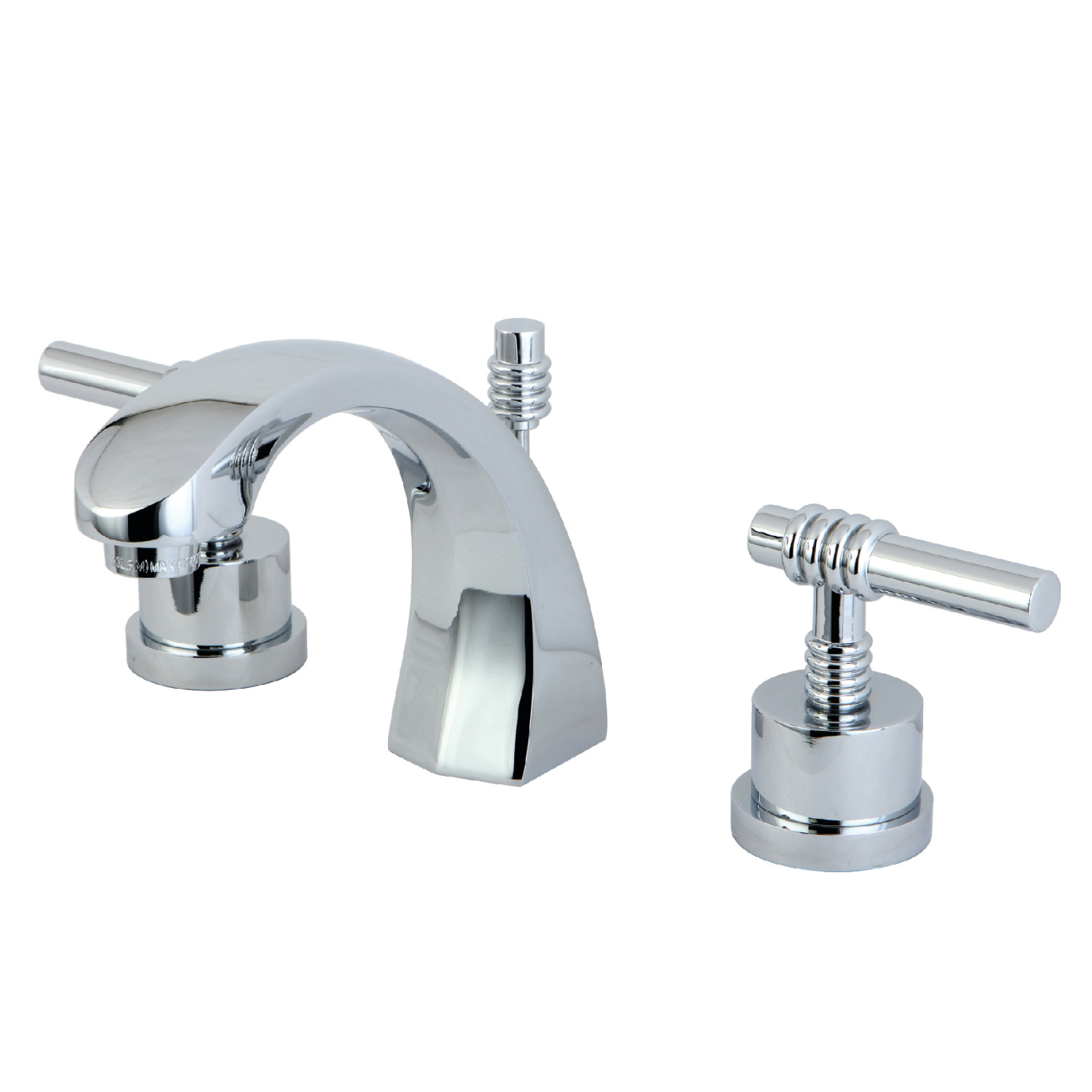 Modern Two-Handle 3-Hole Deck Mounted Widespread Bathroom Faucet with Brass Pop-Up in Polished Chrome with 4 Color Options