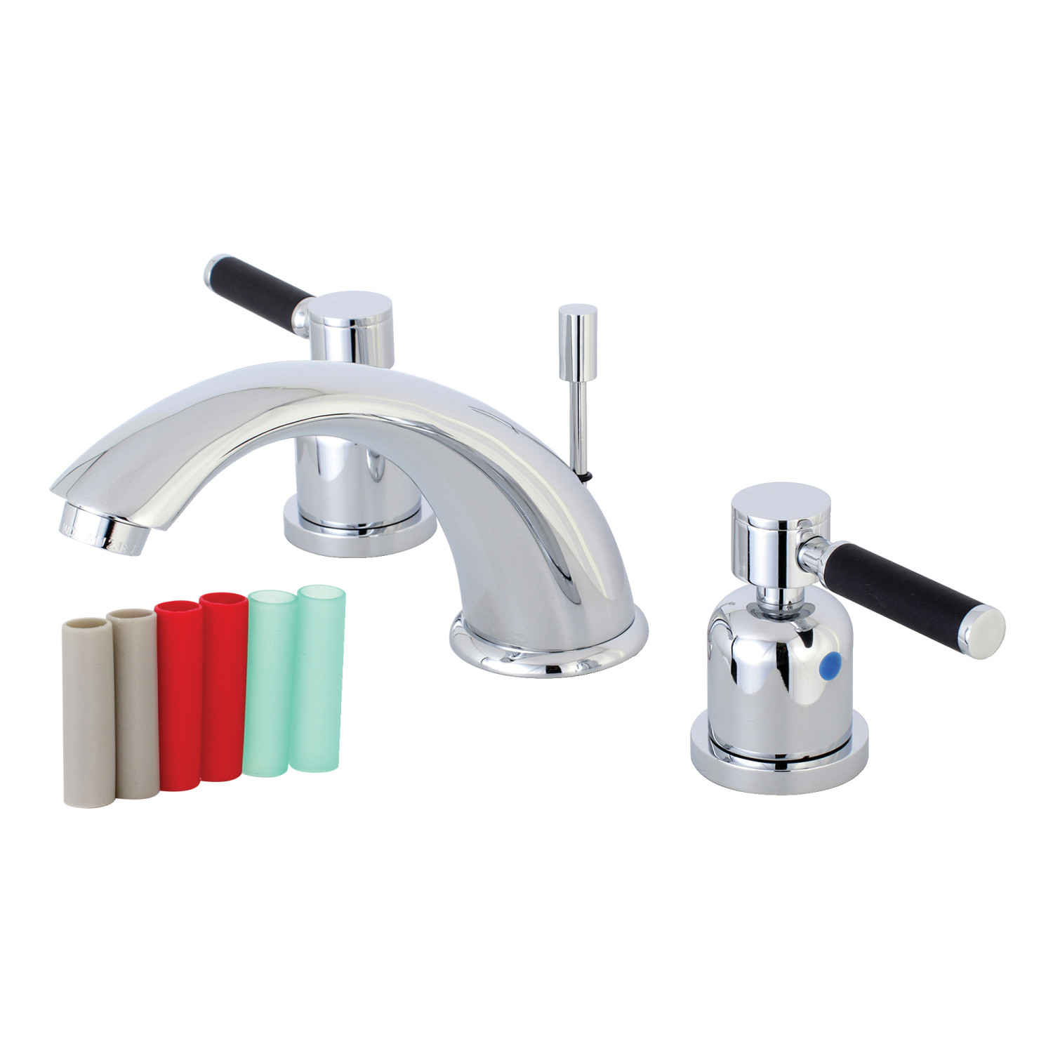Modern Two-Handle 3-Hole Deck Mounted Widespread Bathroom Faucet with Plastic Pop-Up in Polished Chrome with 4 Color Options