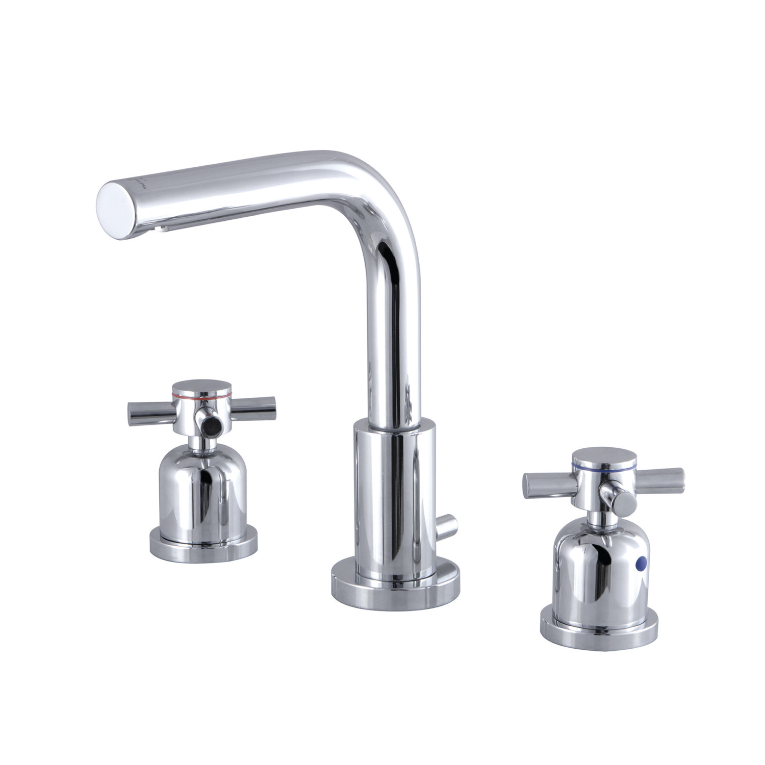 Modern Two-Handle 3-Hole Deck Mounted Widespread Bathroom Faucet with Brass Pop-Up in Polished Chrome with 6 Finish Options