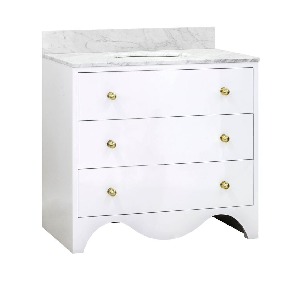"36"" Isaac Edwards Collection White Lacquer Bath Vanity with White Marble Top, Hardware and Backsplash Option"