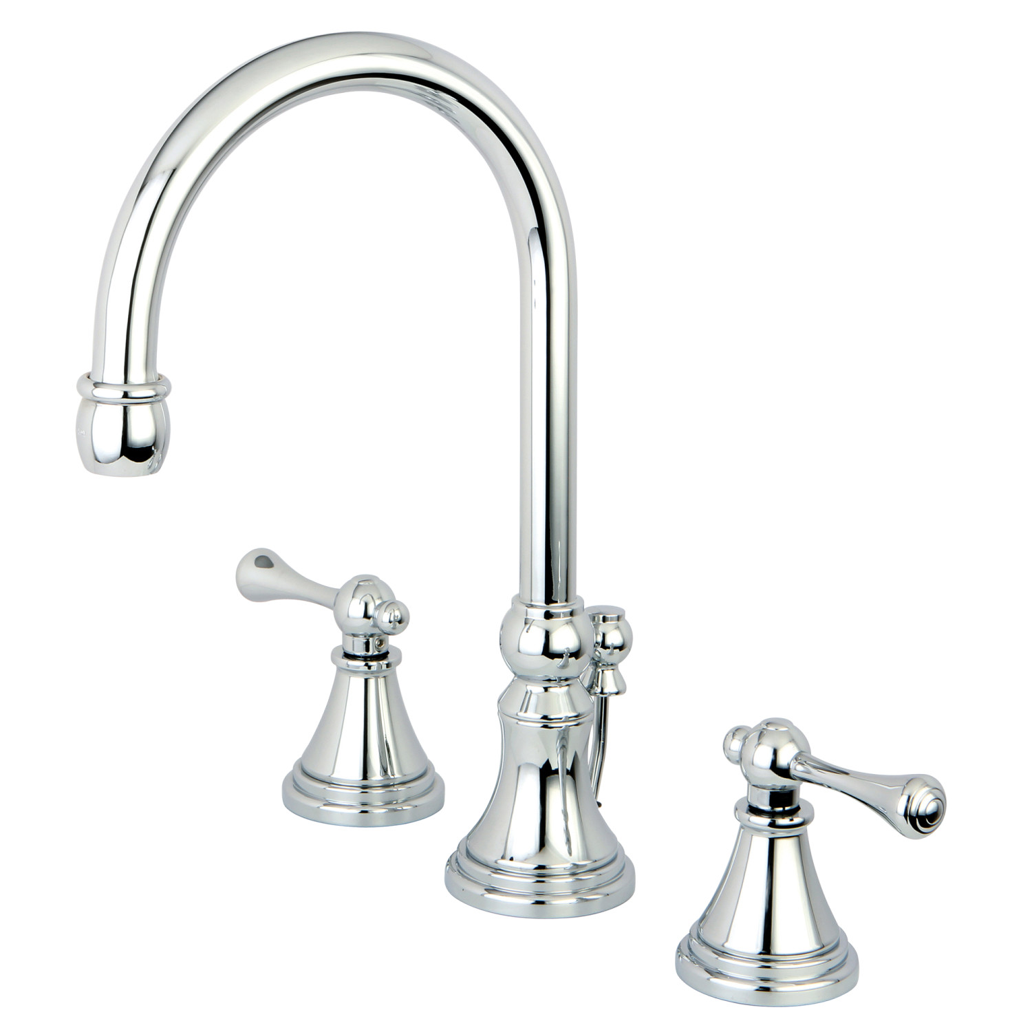 Traditional Two-Handle 3-Hole Deck Mounted Widespread Bathroom Faucet with Brass Pop-Up in Polished Chrome Color with 4 Finish Options