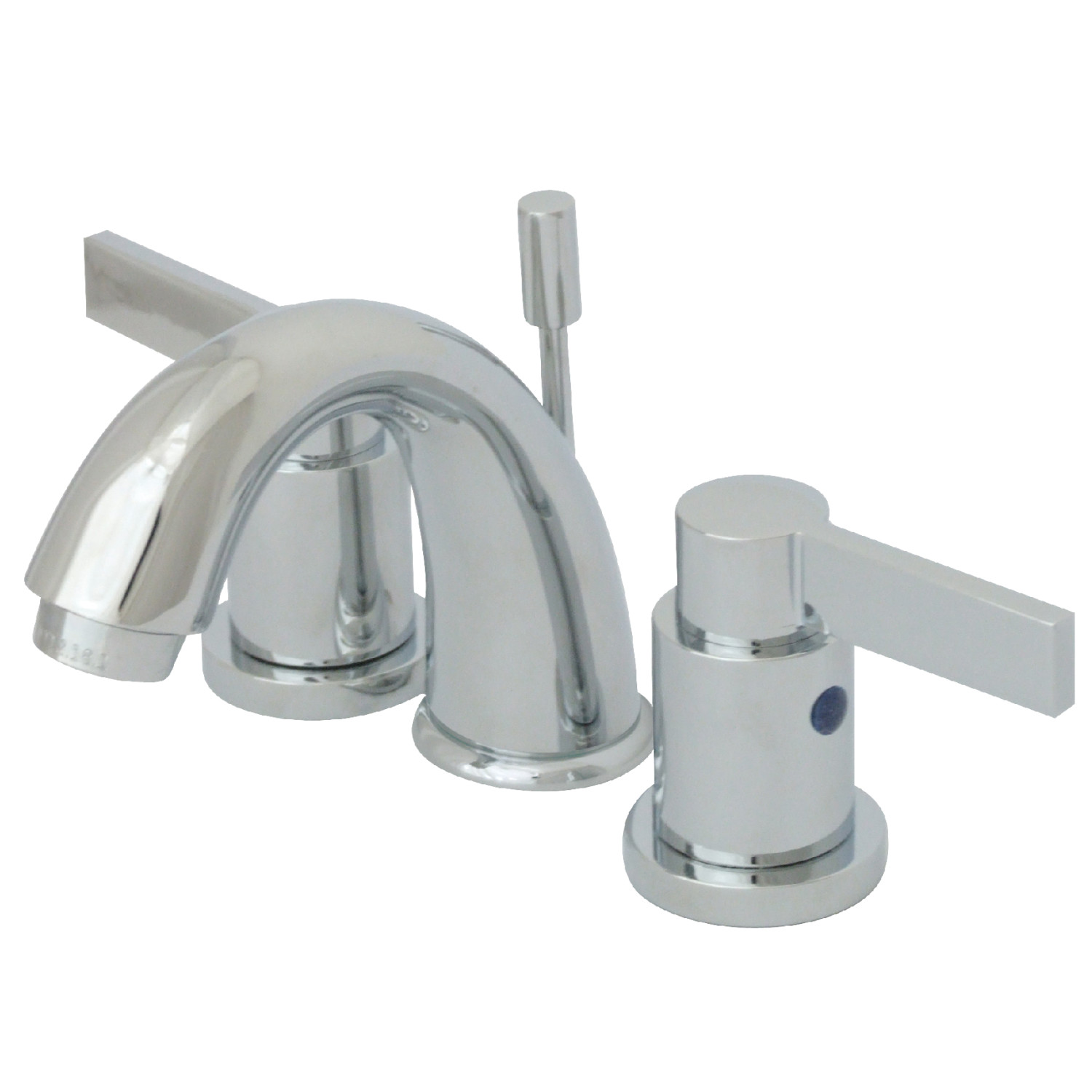 Modern Two-Handle 3-Hole Deck Mounted Widespread Bathroom Faucet with Plastic Pop-Up in Polished Chrome with 4 Color Option