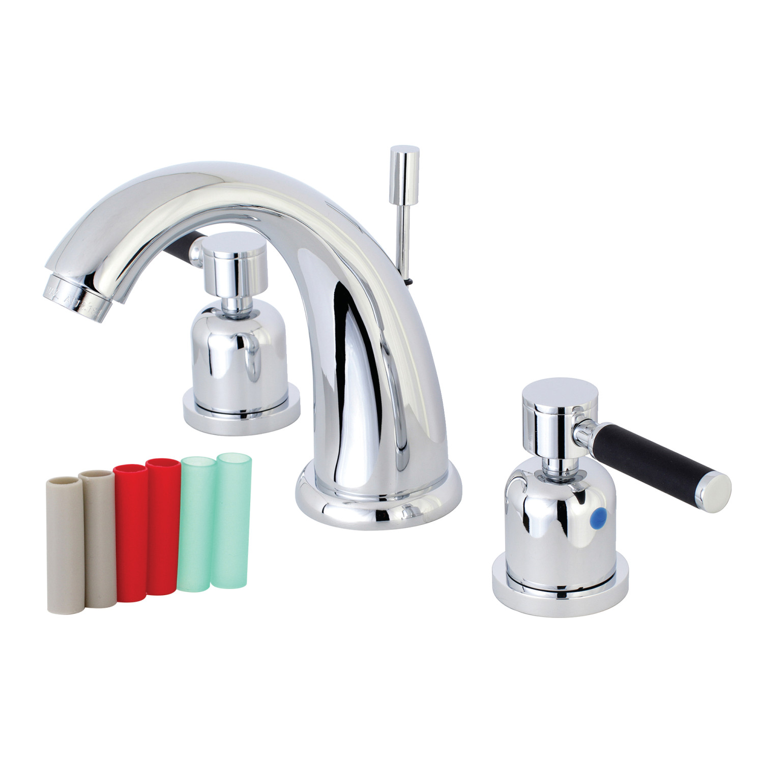 Modern Two-Handle 3-Hole Deck Mounted Widespread Bathroom Faucet with Plastic Pop-Up in Polished Chrome Finish