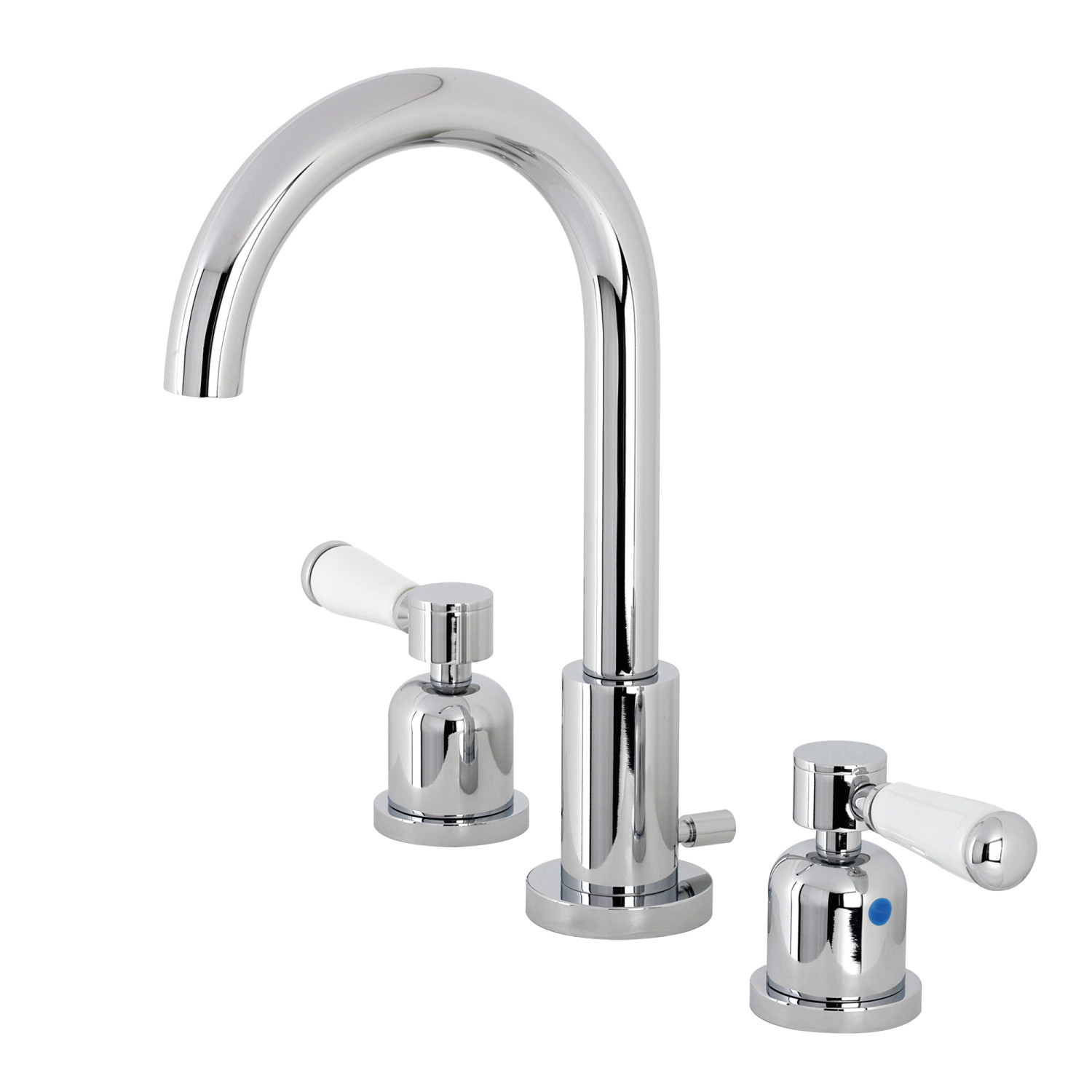 Modern Two-Handle 3-Hole Deck Mounted Widespread Bathroom Faucet with Brass Pop-Up in Polished Chrome with 7 Finish Options