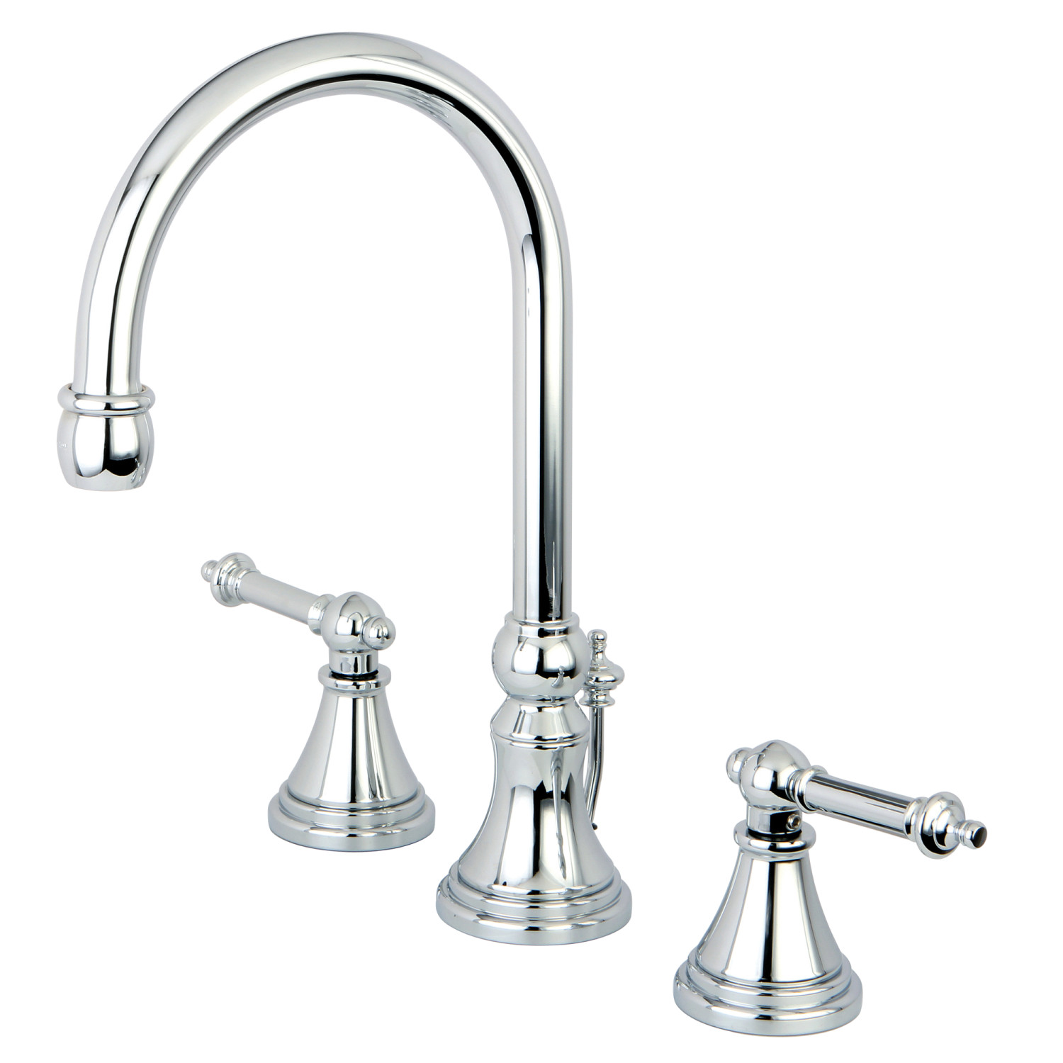 Modern Two-Handle 3-Hole Deck Mount Widespread Bathroom Faucet with Brass Pop-Up in Polished Chrome