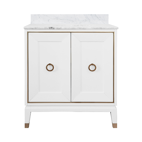 """30"""" Issac Edwards Collection Bath Vanity in Matte White Lacquer Finsih w/ Antique Brass Ring Hardware, White Marble Top and Porcelain Sink"""