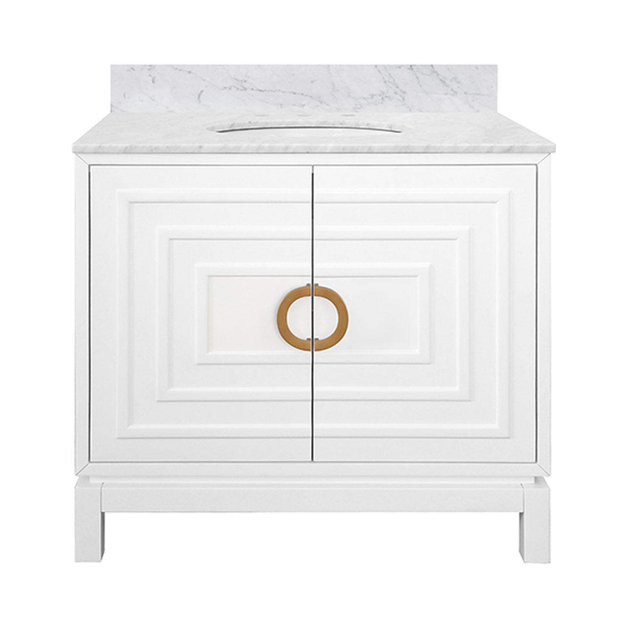 """36"""" Issac Edwards Collection Bath Vanity in Matte White Finsih with White Marble Top and Porcelain Sink"""