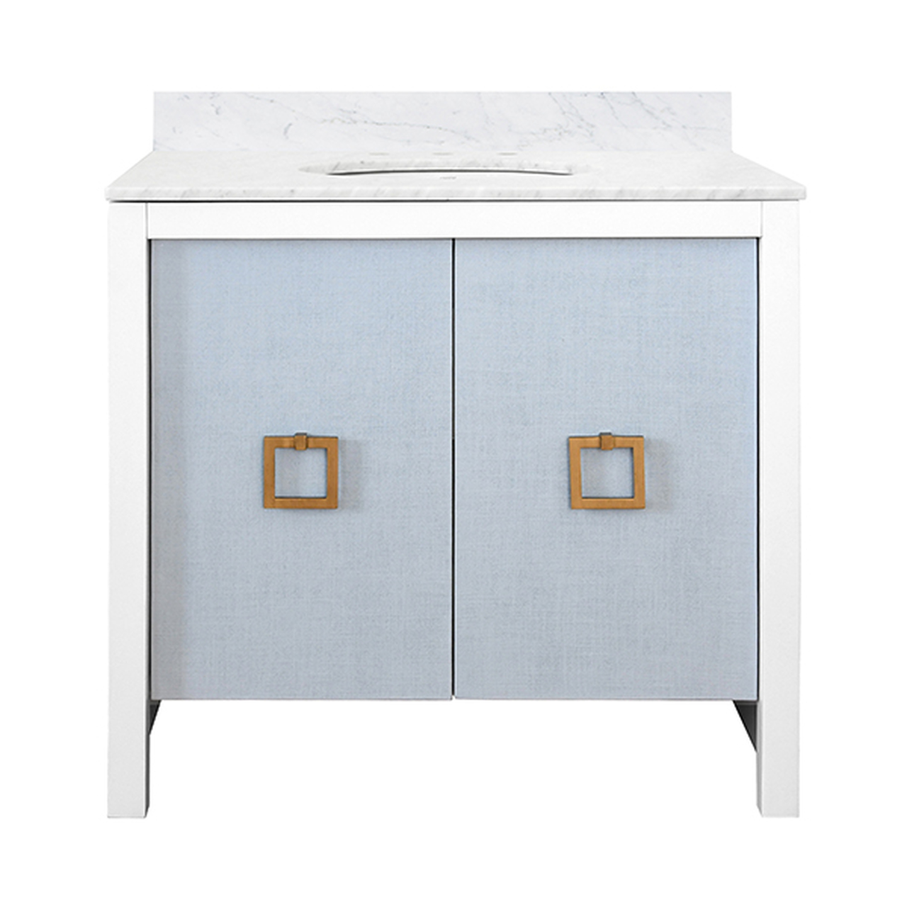 """36"""" Issac Edwards Collection Bath Vanity in White Finsih with Light Blue Door with White Marble Top and Porcelain Sink"""