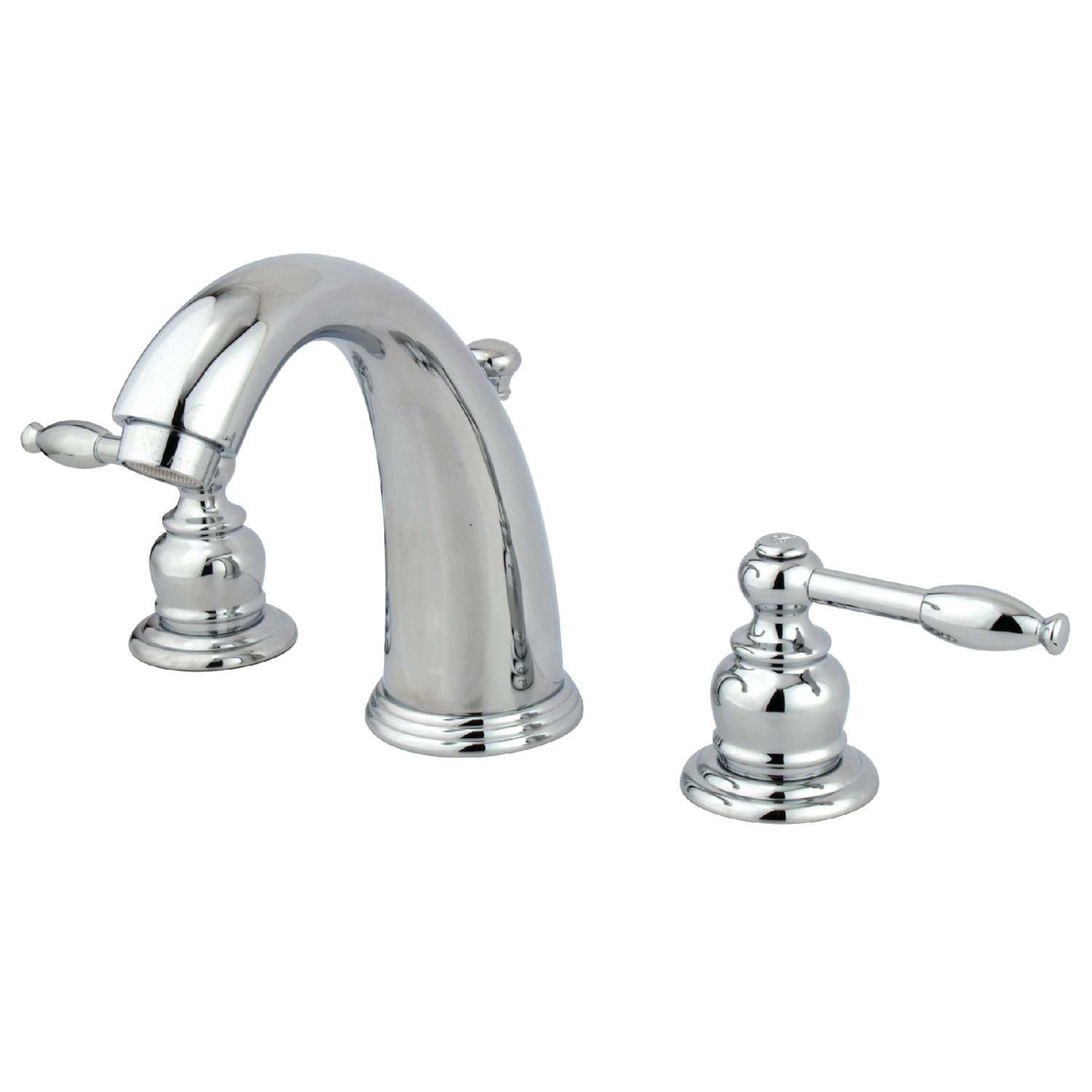 Traditional Two-Handle Three-Hole Deck Mounted Widespread Bathroom Faucet with Plastic Pop-Up in Polished Chrome with 4 Finish Option