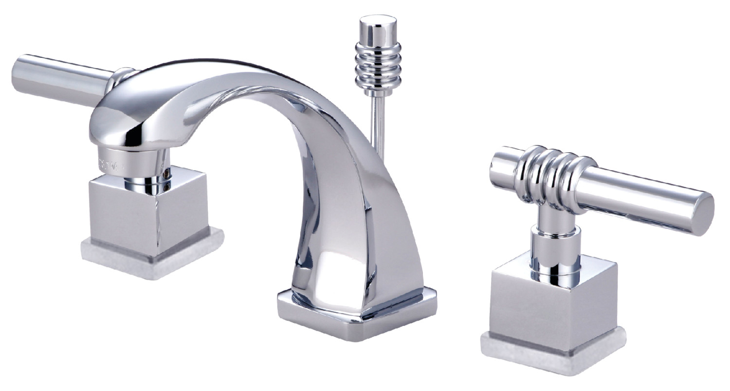 Modern Two-Handle 3-Hole Deck Mounted Widespread Bathroom Faucet in Polished Chrome with 4 Finish Options