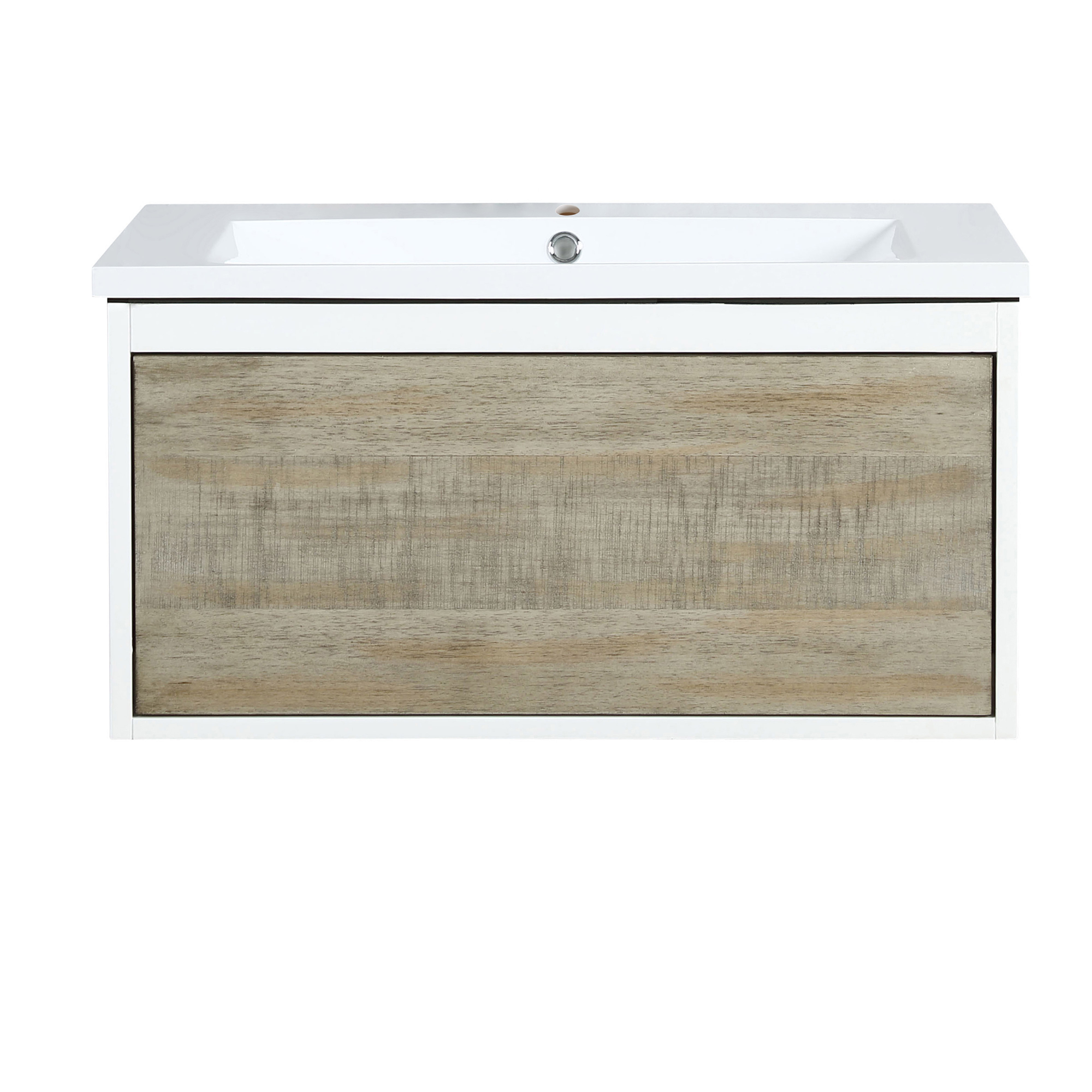 """30"""" Rustic Acacia Bathroom Vanity and Acrylic Composite Top with Integrated Sink"""