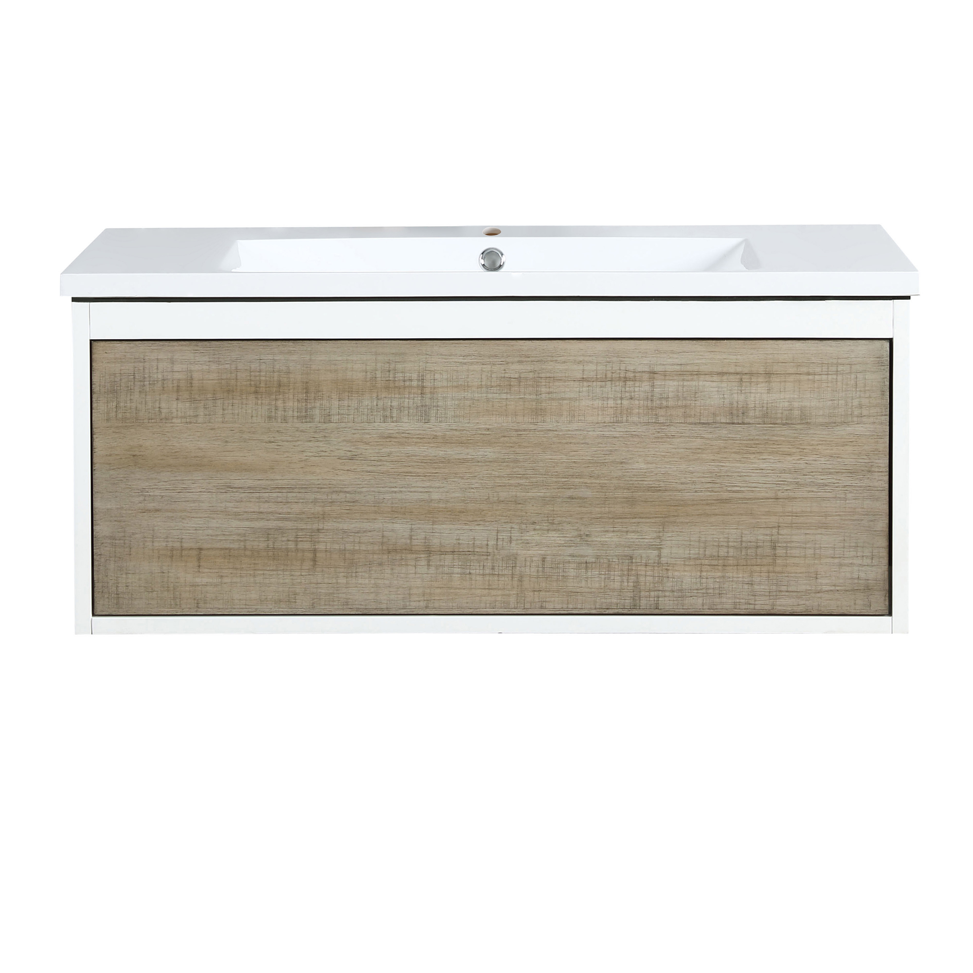 """36"""" Rustic Acacia Bathroom Vanity and Acrylic Composite Top with Integrated Sink"""